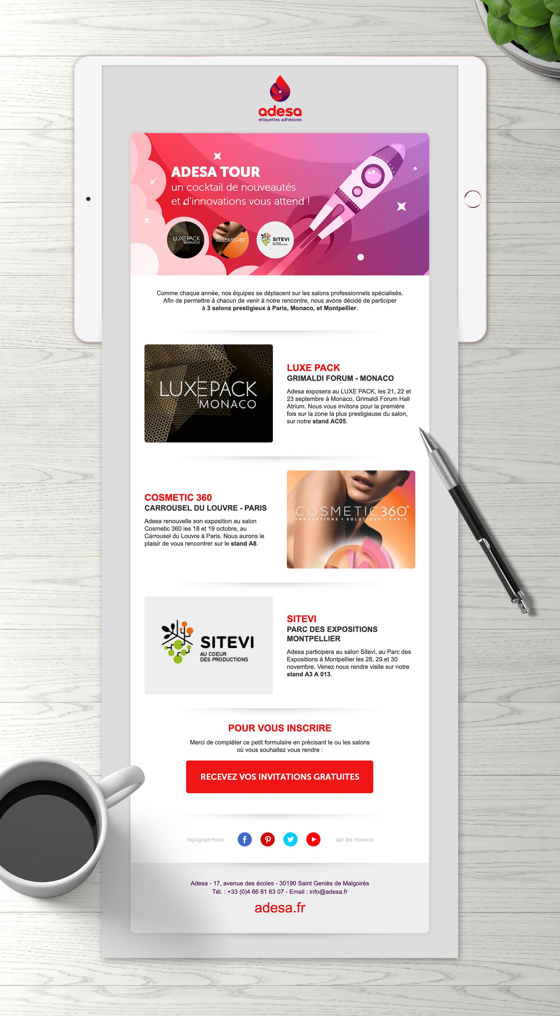 Création mailing salons Adesa imprimerie étiquettes adhésives