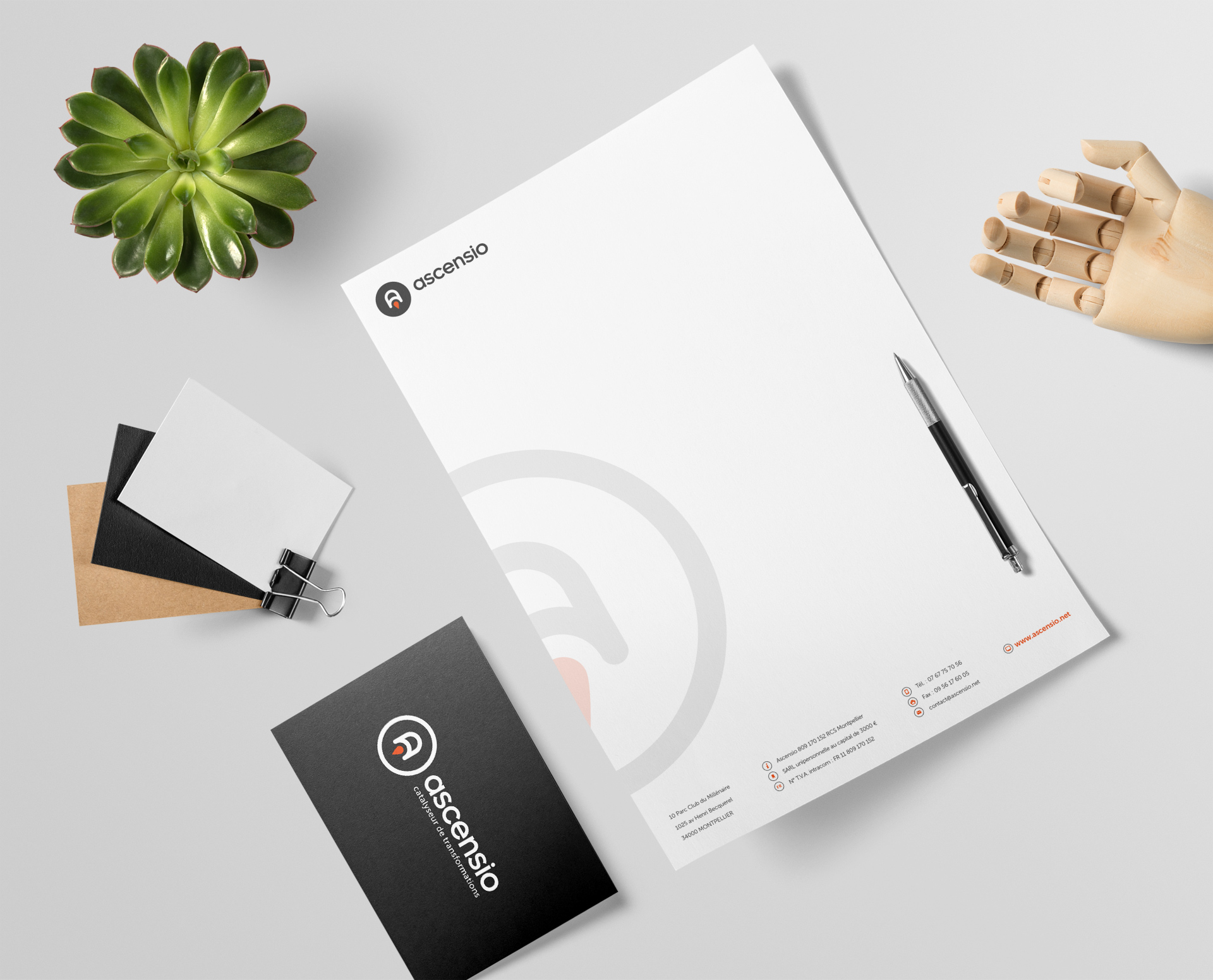 Création ligne de papeterie papier entête graphiste montpellier