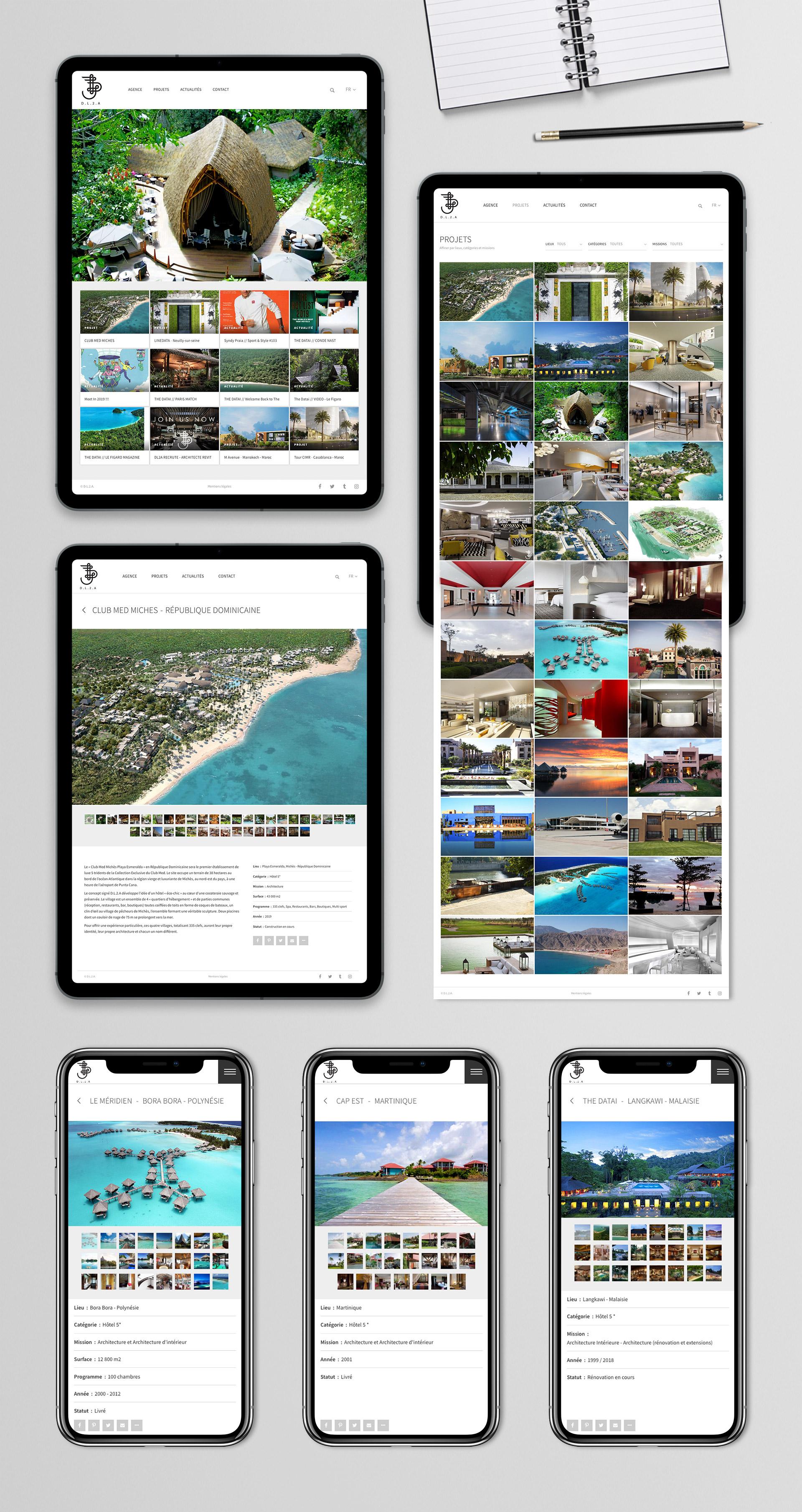 Création site web responsive design mobile tablette architecte architecture intérieure