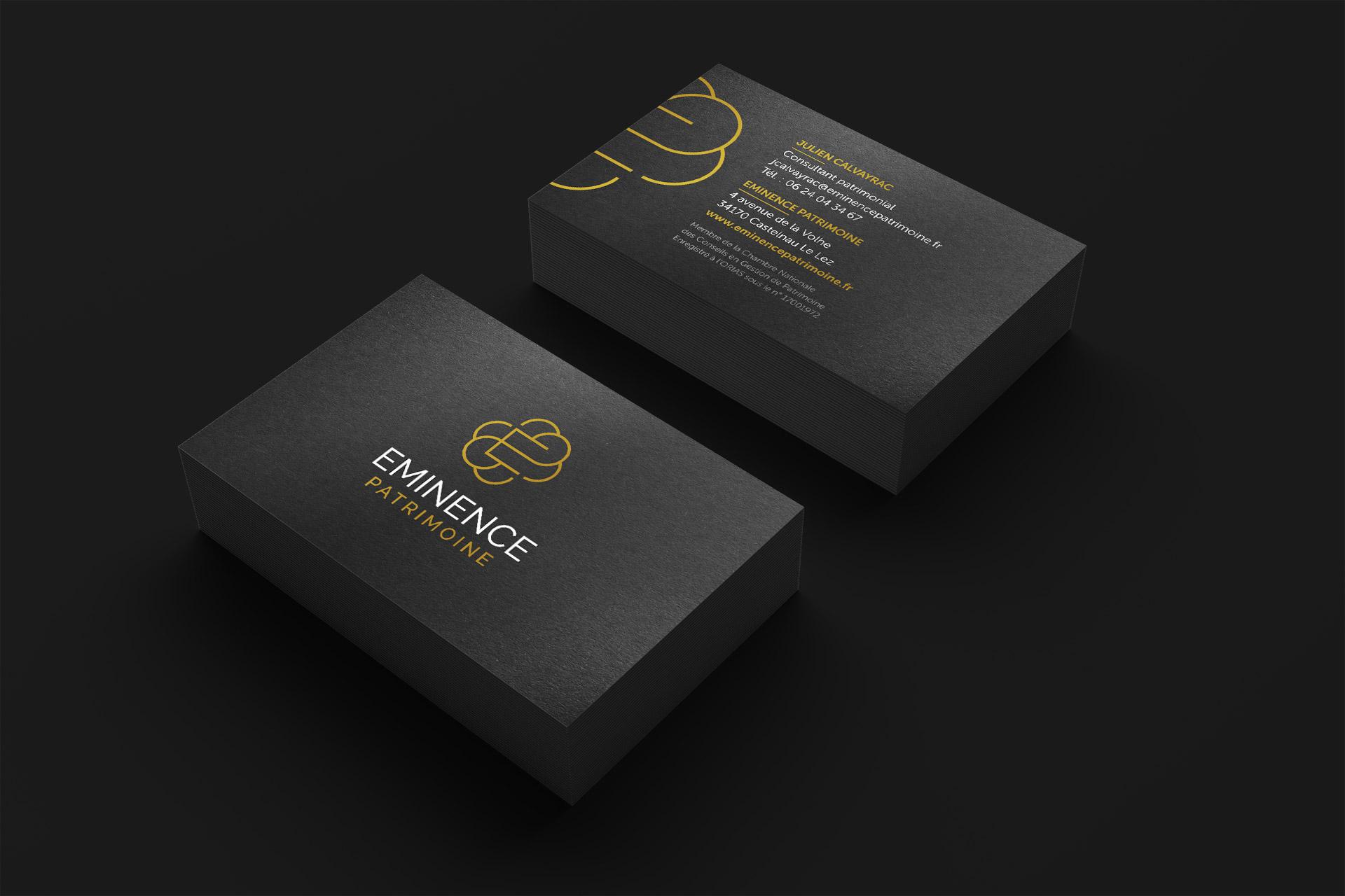 Creation carte visite black card gestion patrimoine Montpellier