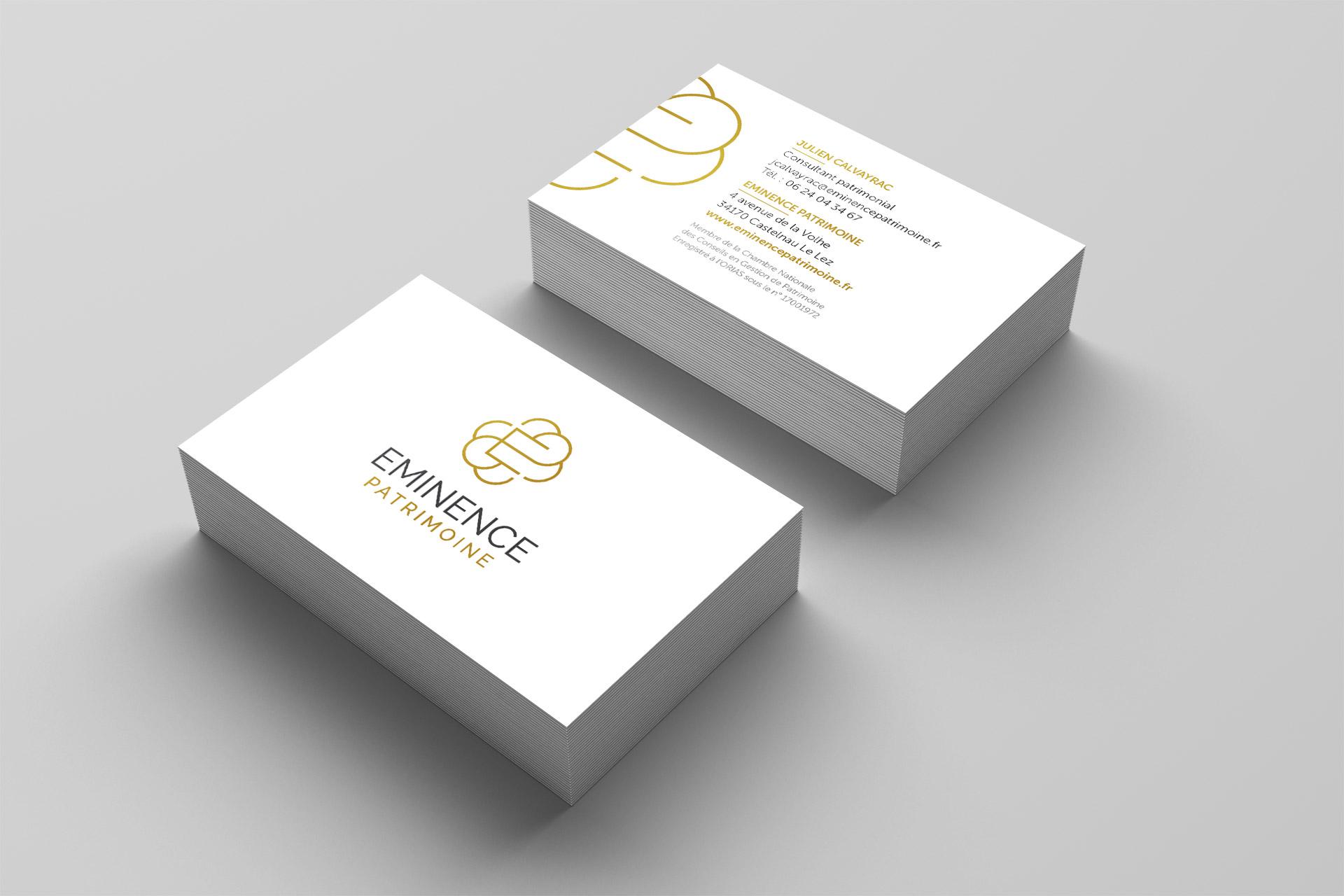 Création carte visite cabinet gestion patrimoniale montpellierain