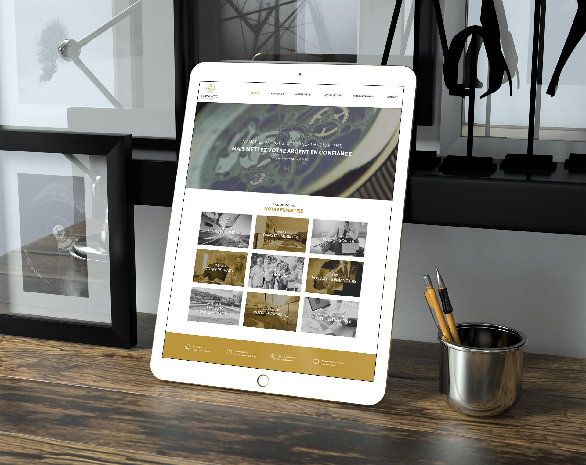 creation site internet gestionnaire patrimonial eminence patrimoine graphiste montpellier