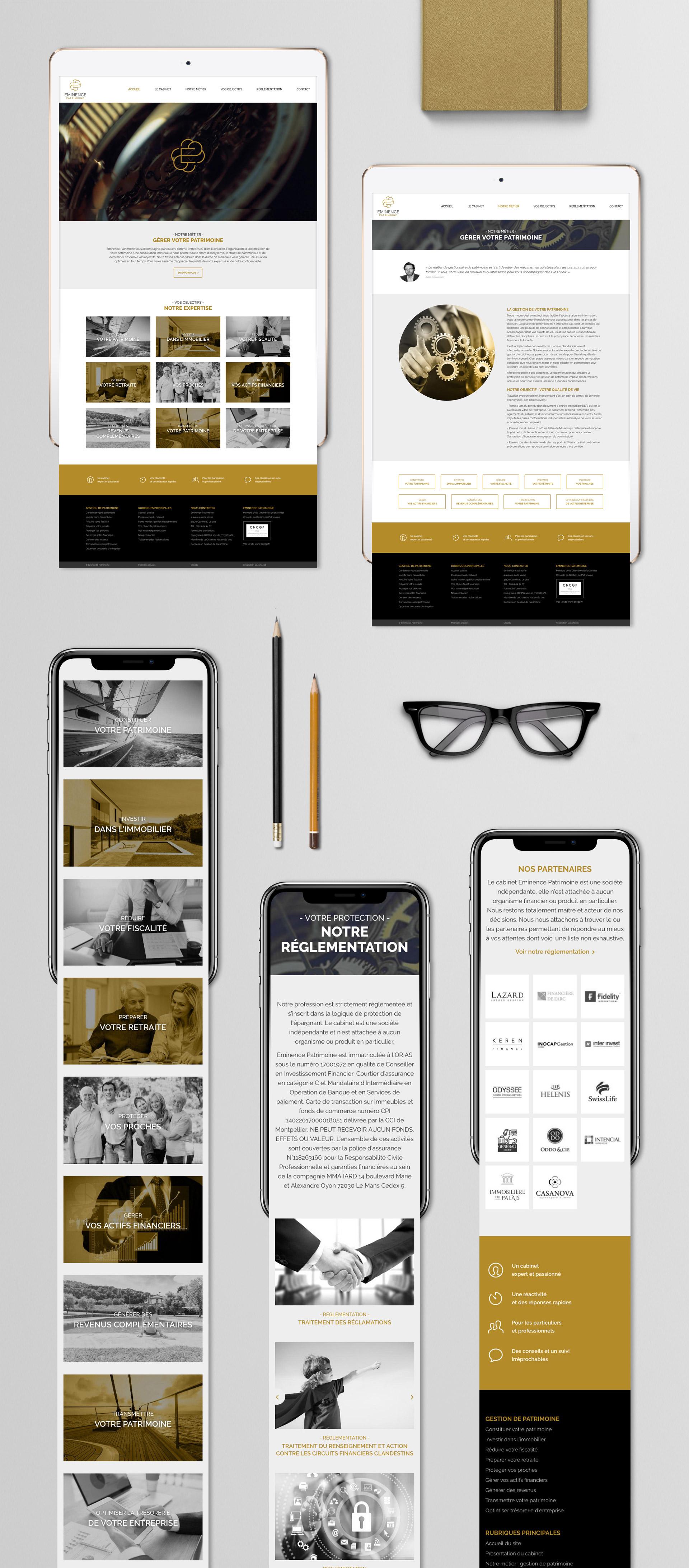 Realisation site internet responsive design cabinet gestion patrimoniale Montpellier Eminence Patrimoine