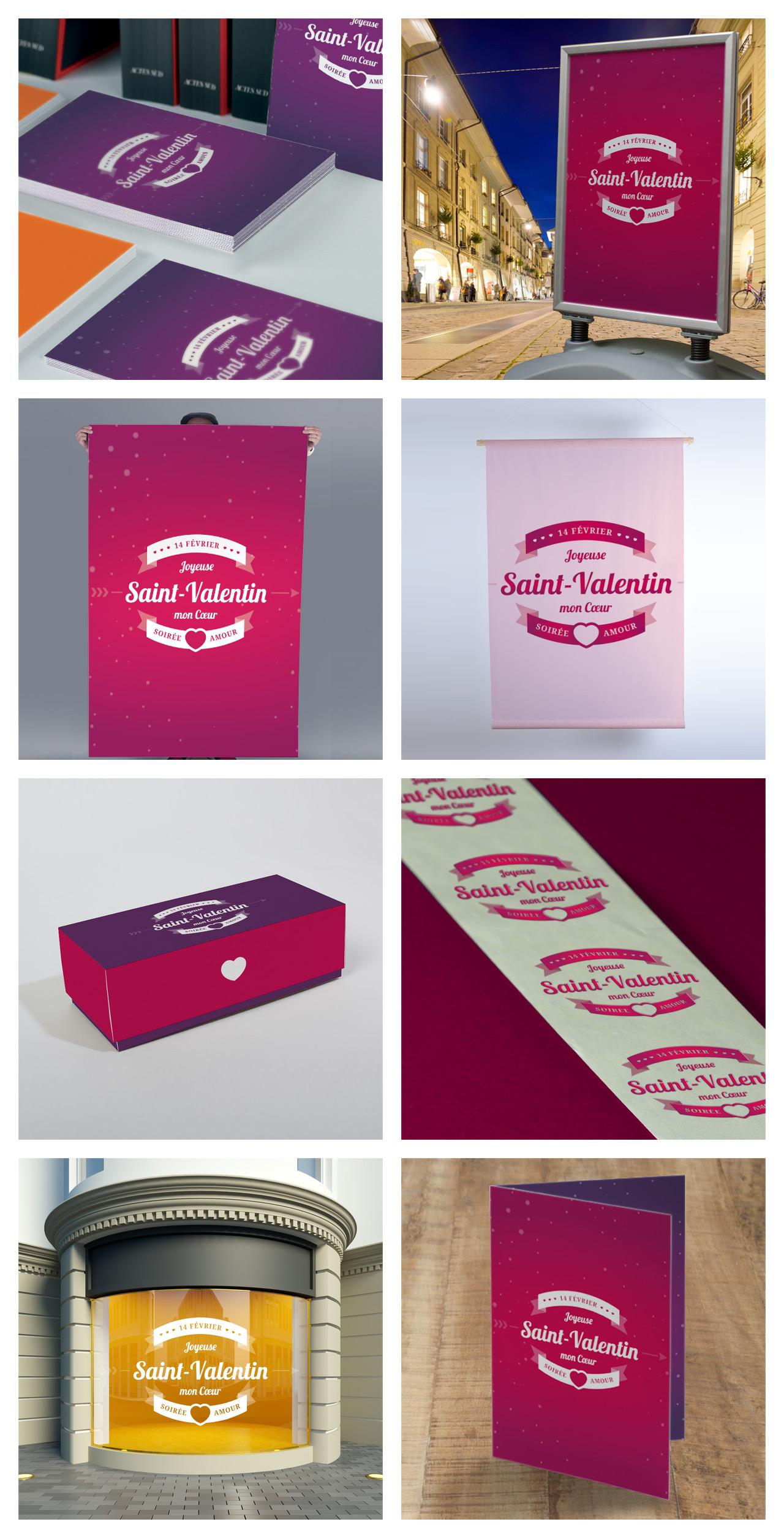Creation depliant flyer affiche kakemono etiquette packaging Exaprint Saint-Valentin graphiste Montpellier Caconcept Alexis Cretin