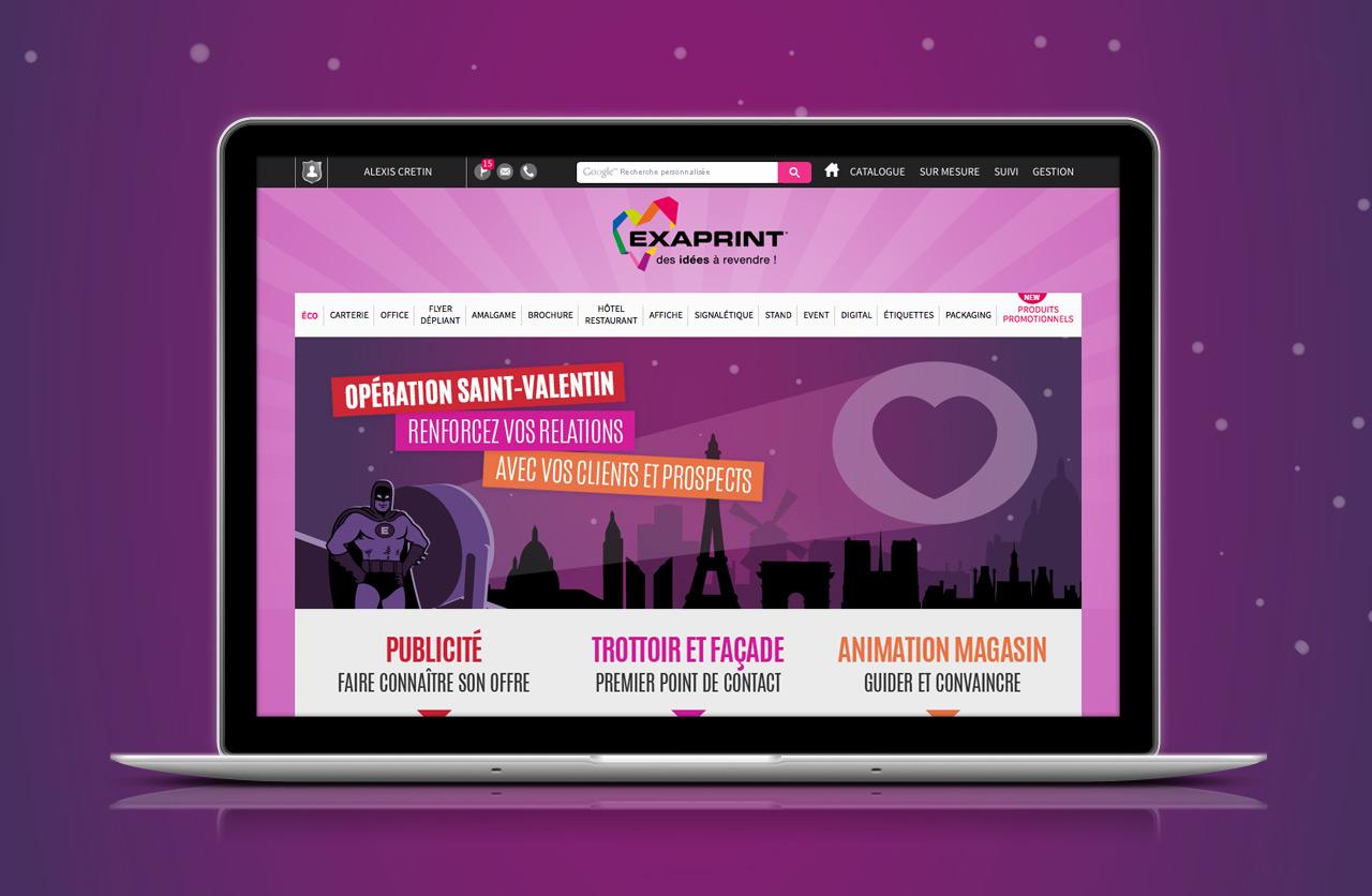 Creation site internet Exaprint Saint-Valentin graphiste Montpellier Caconcept Alexis Cretin