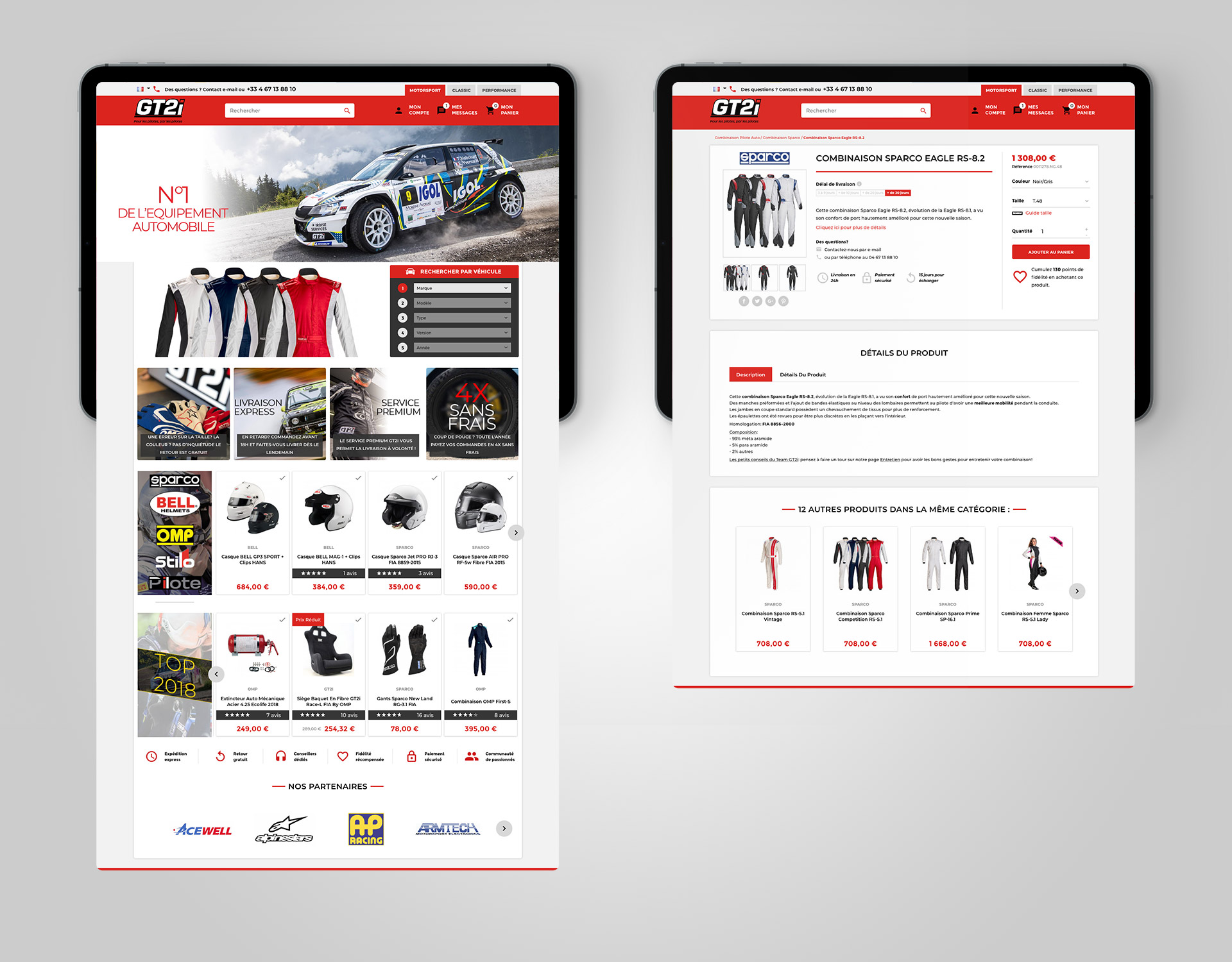 Integration boutique en ligne site ecommerce tuning racing GT2i