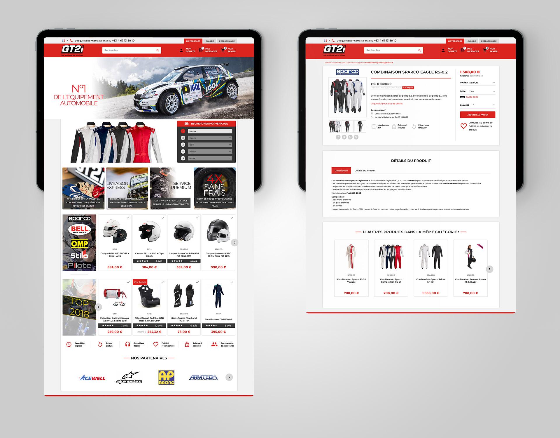 Integration boutique en ligne site ecommerce tuning racing GT2i