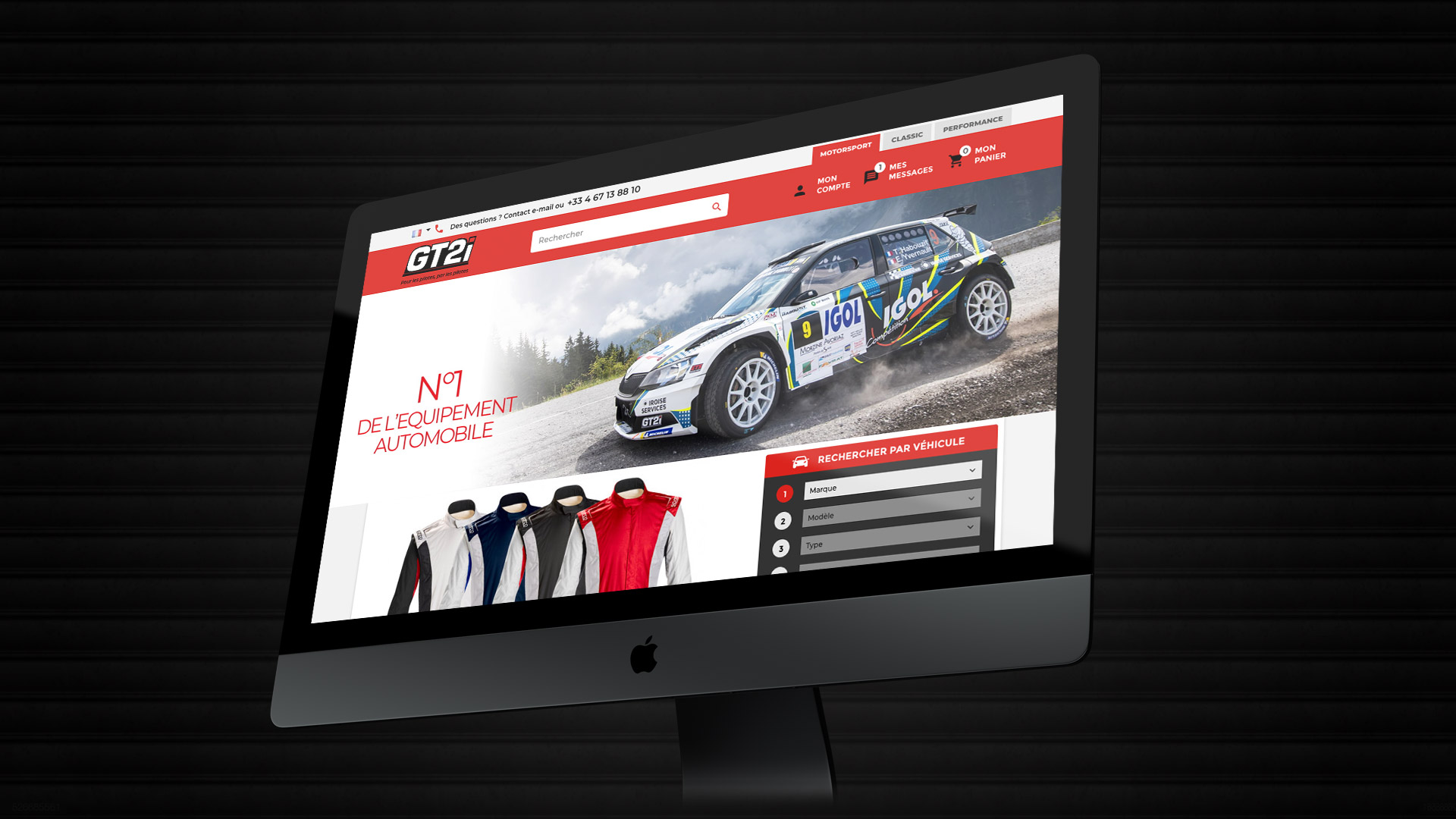 Site web e-commerce pilote rallye tuning racing véhicules historiques compétition