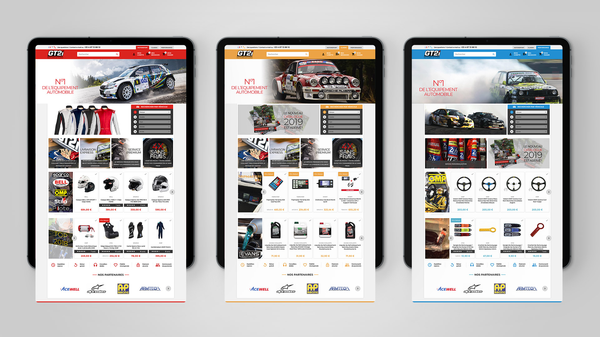 Site e-commerce sports automobiles 3 univers Motorsport Classic Performance