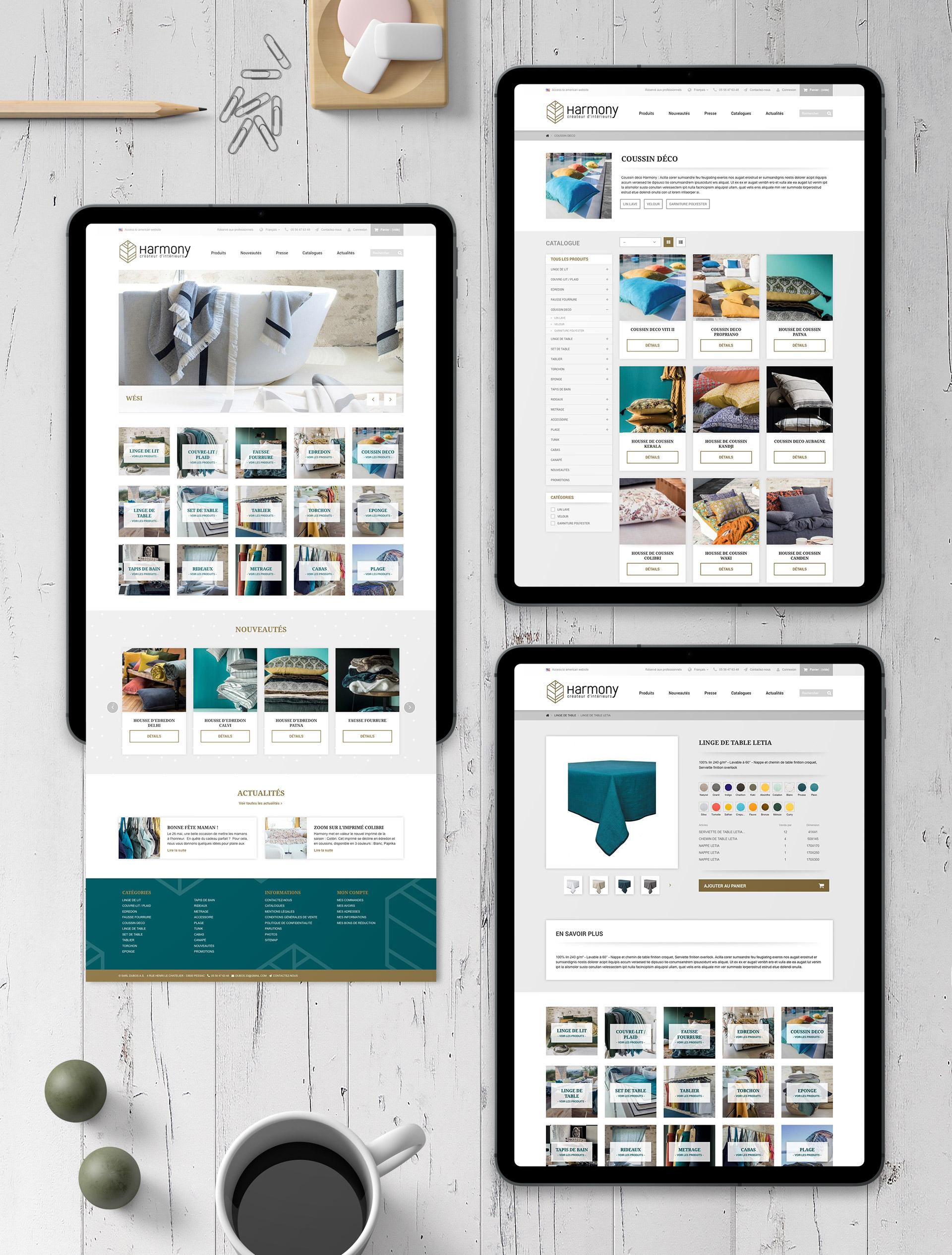 Creation site e-commerce linge maison haute qualite
