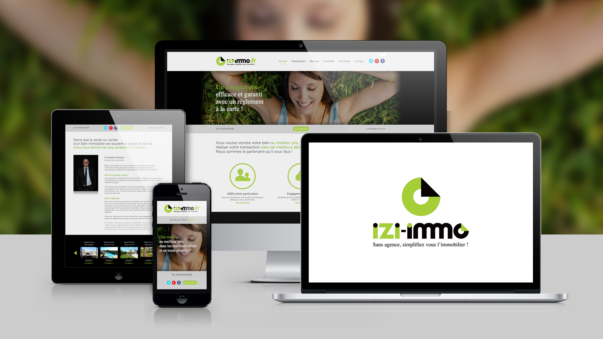 Izi immo graphiste montpellier caconcept for Idee creation site internet