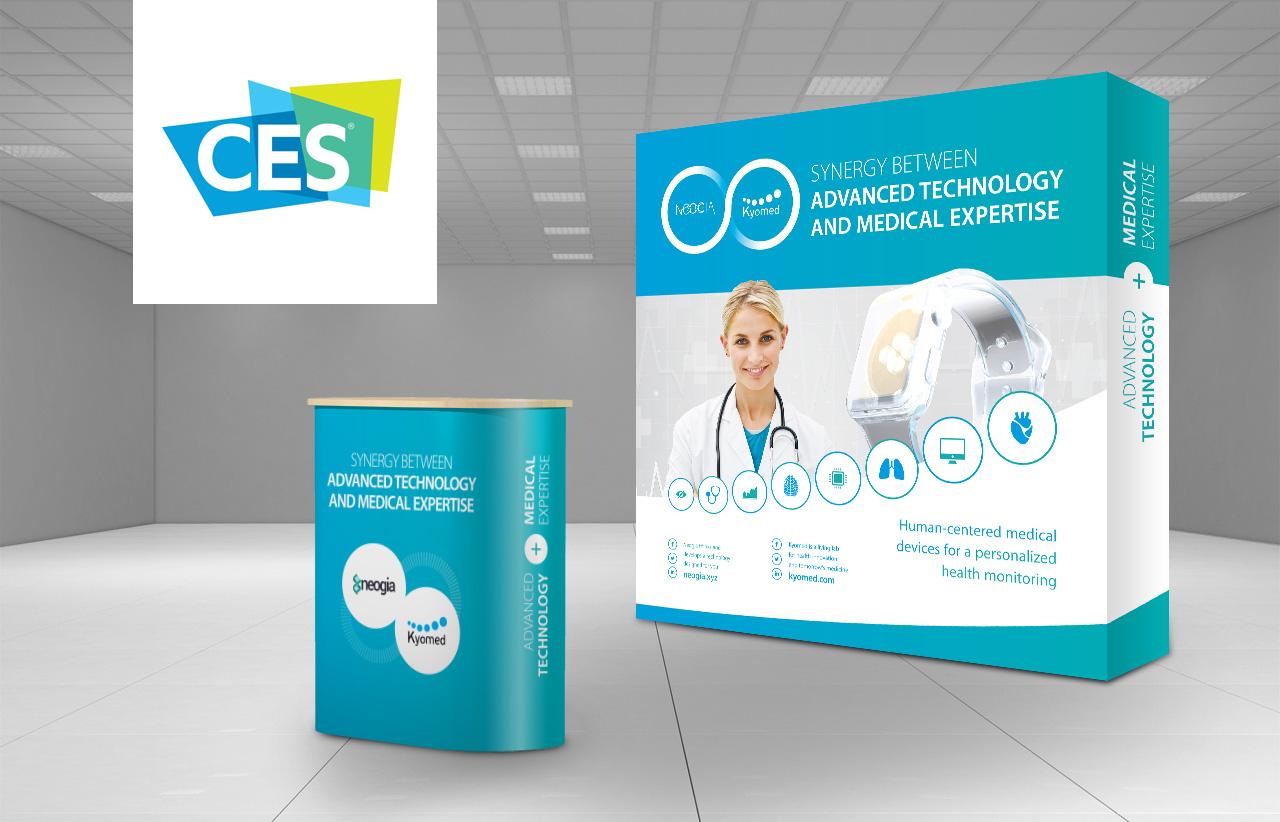 Création stand parapluie comptoir e-santé Consumer Electronics Show Las Vegas (CES)