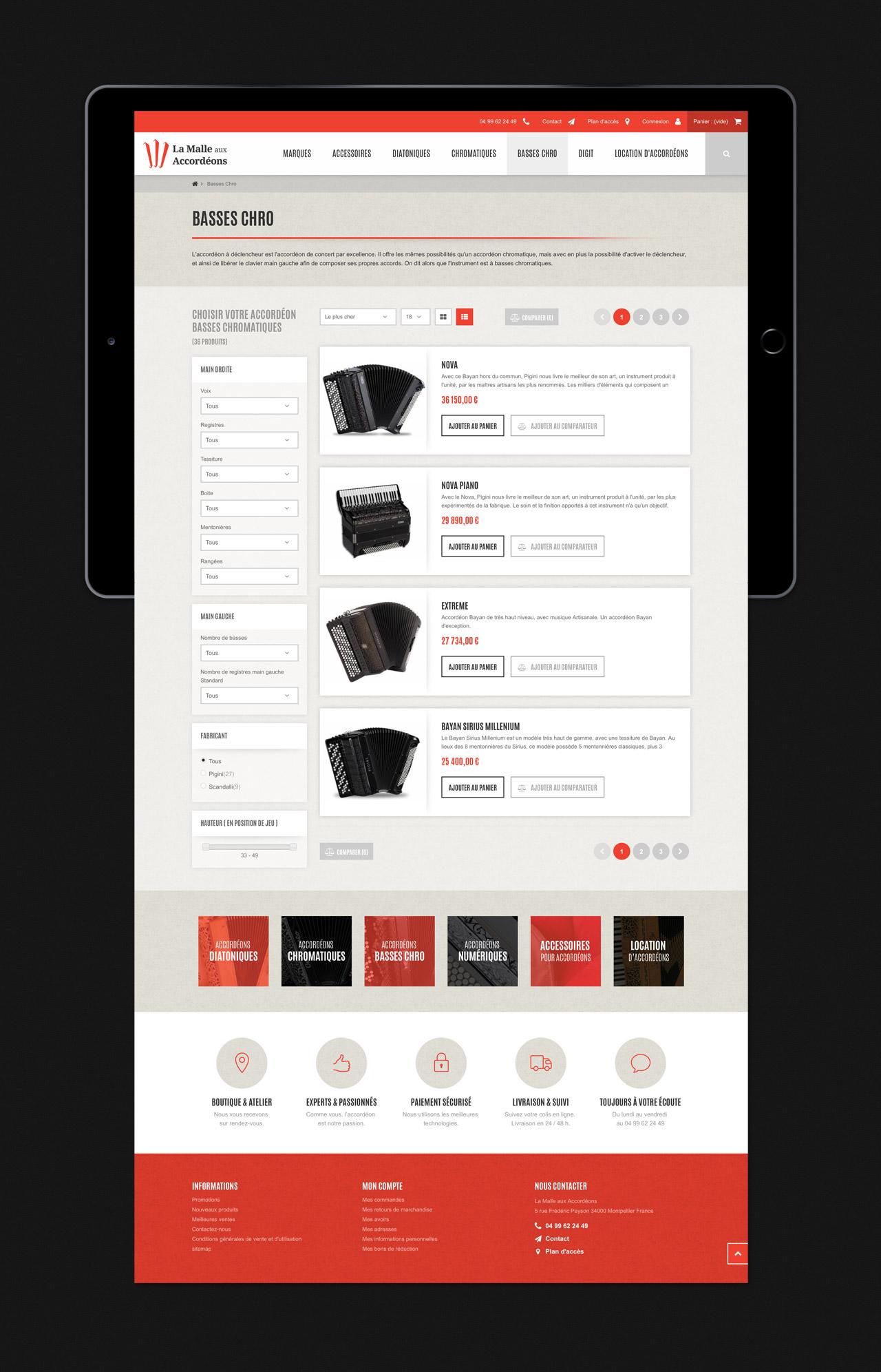 Création site e-commerce page catégorie liste produits Montpellier