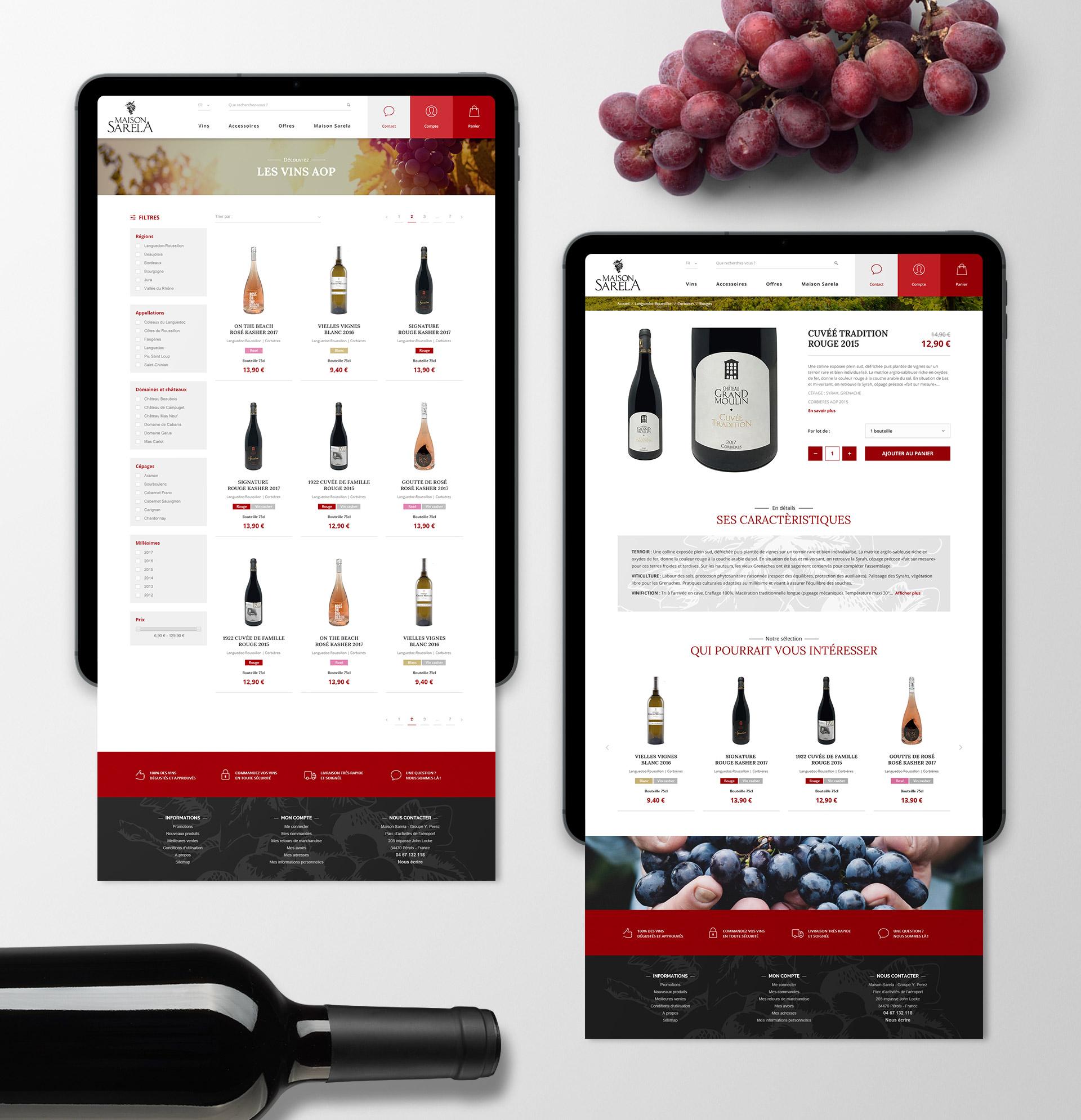 Création boutique e-commerce site responsive design vente de vins Montpellier