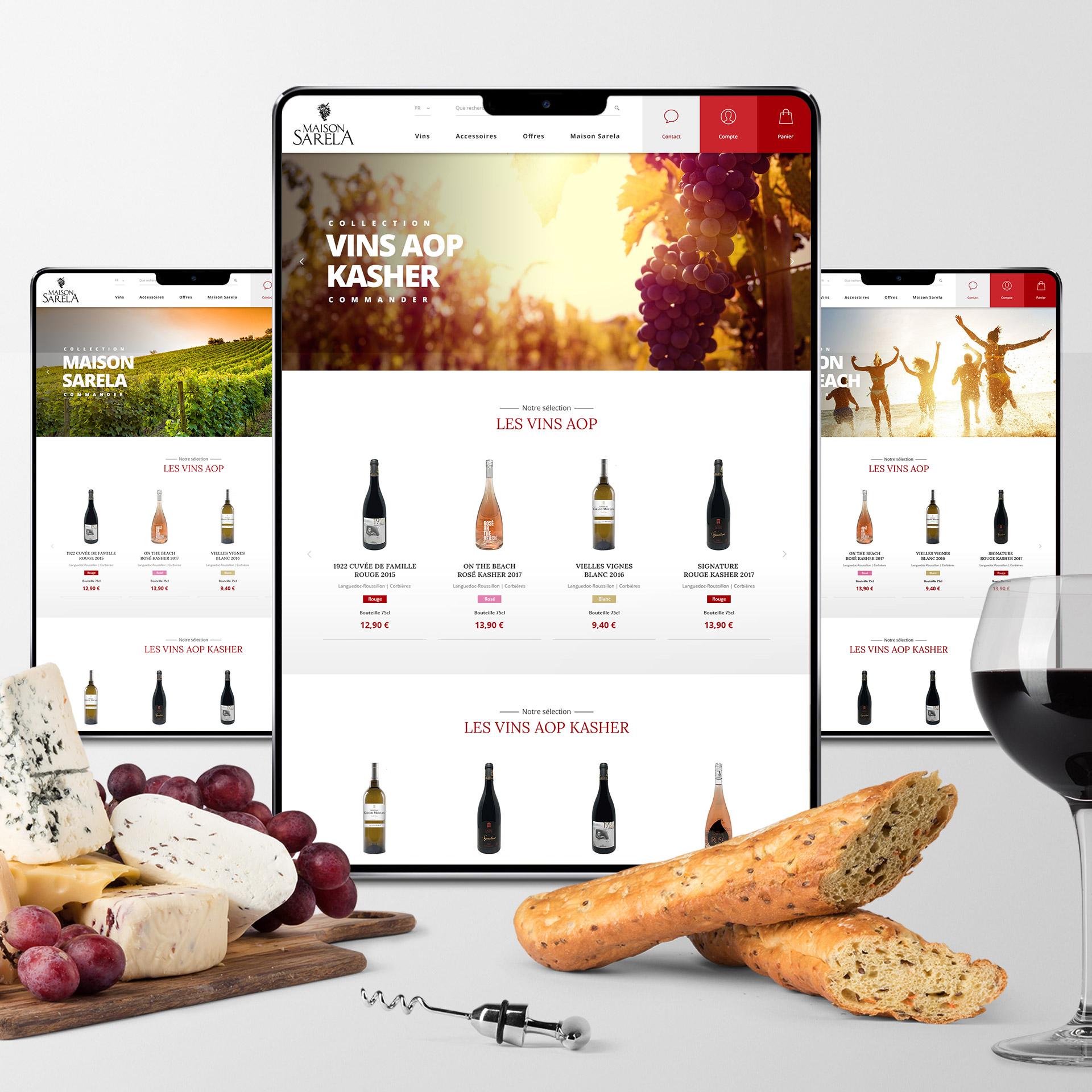 Creation site e-commerce vins AOP kasher Montpellier