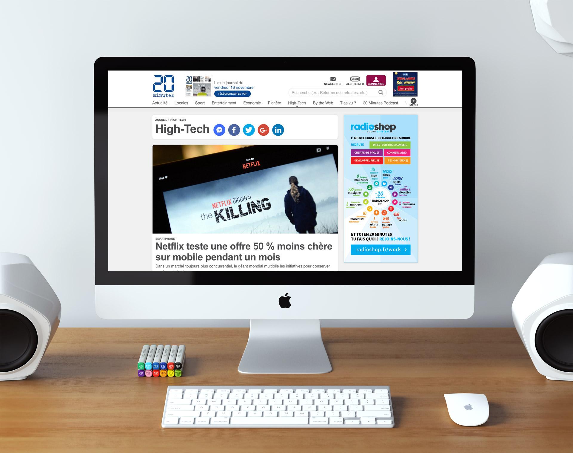 Réalisation publicité bannière web site internet journal 20minutes