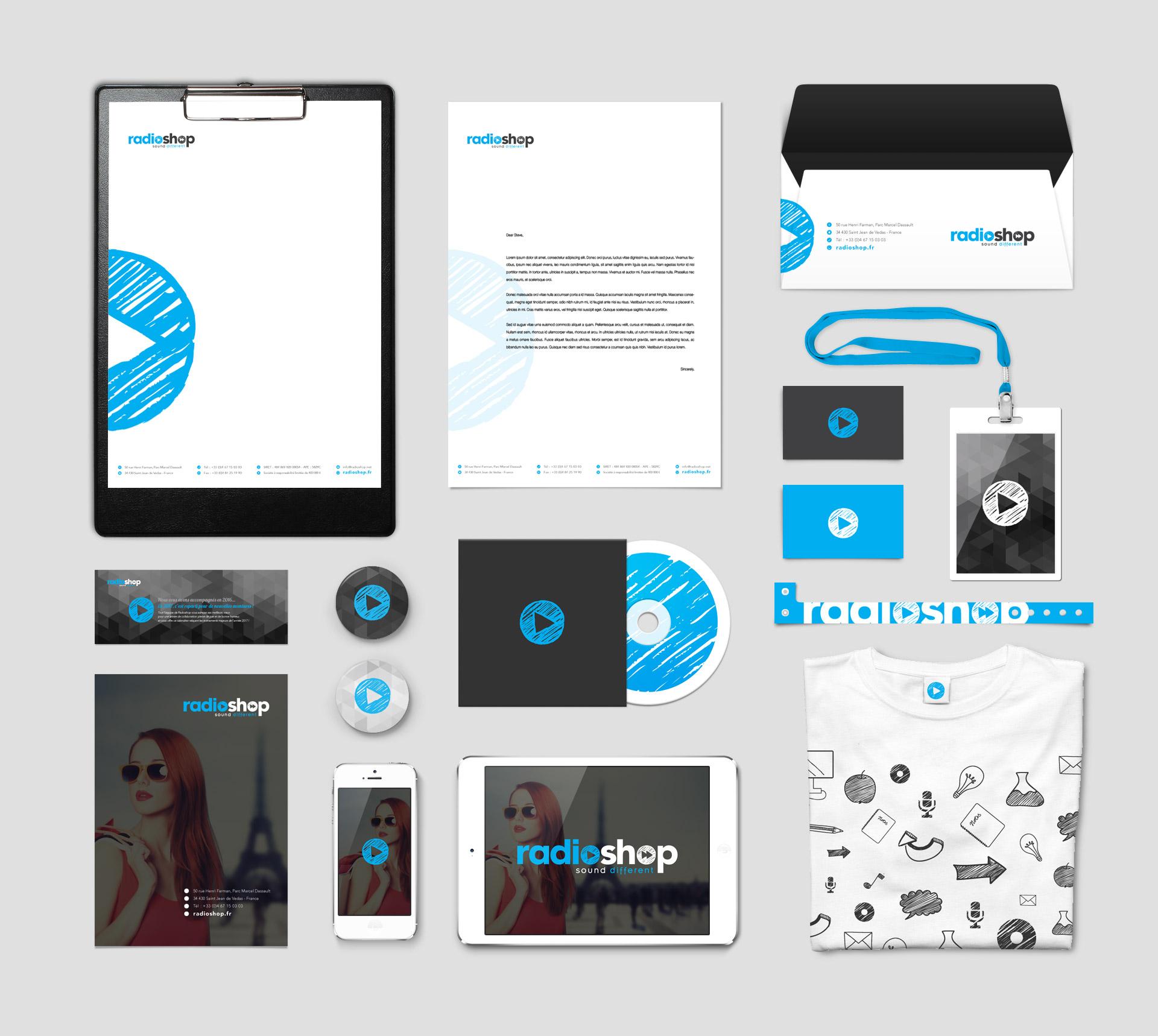 Création branding ligne de papeterie Radioshop
