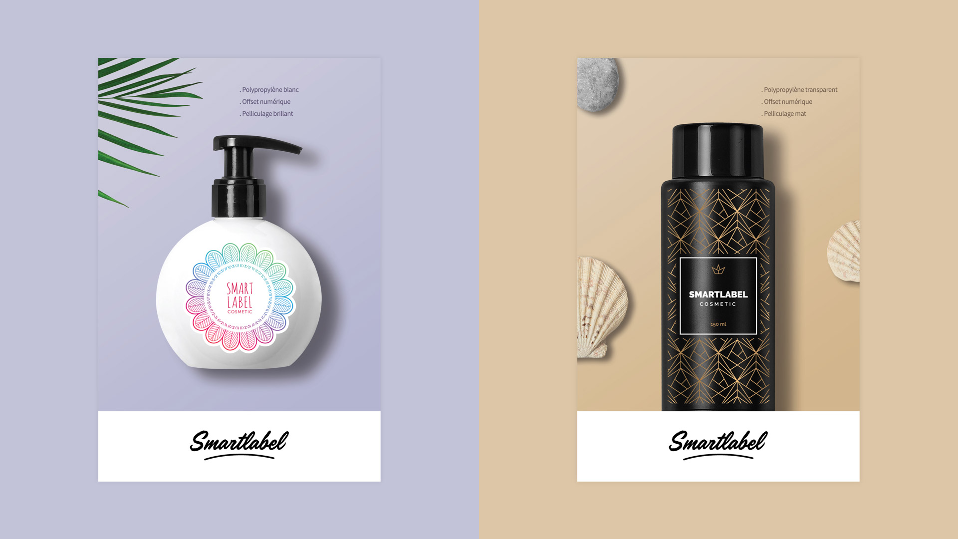 Création étiquettes cosmétiques soins beauté kit échantillon