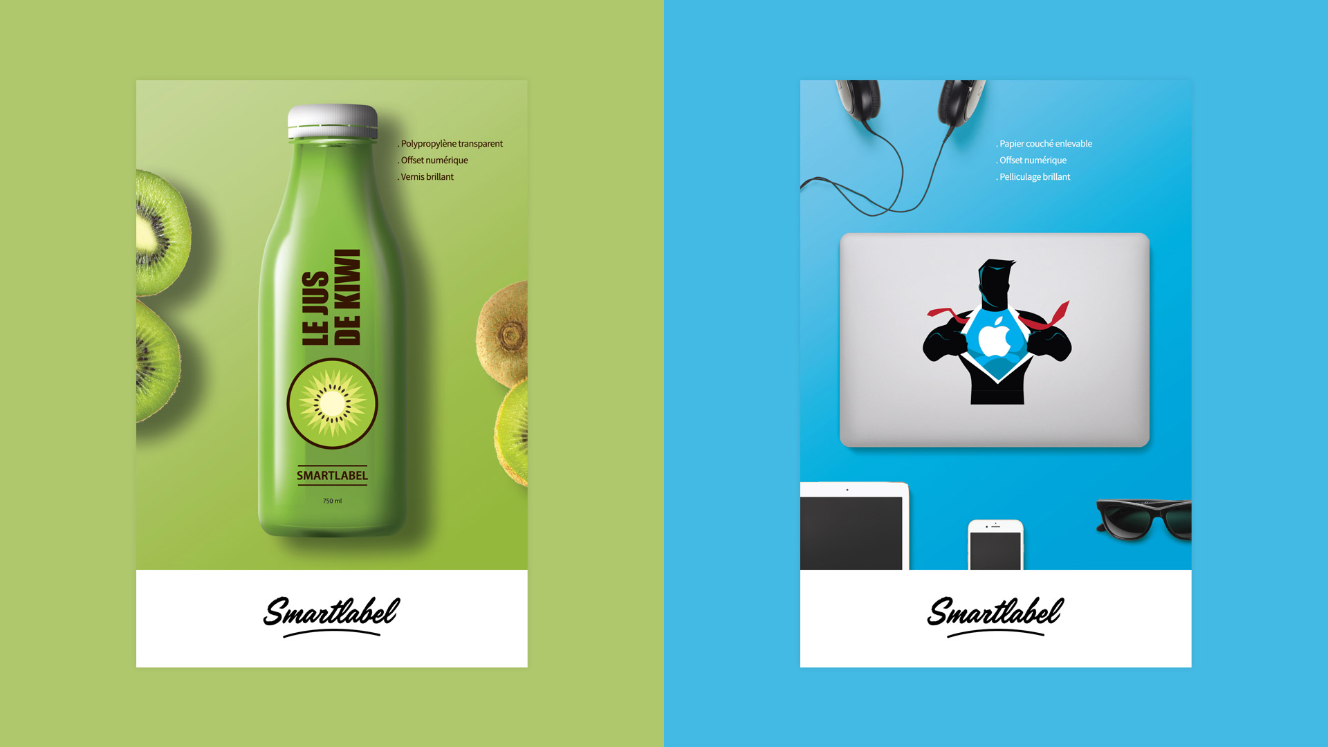 Création étiquettes adhésives jus de fruit vinyle ordinateur