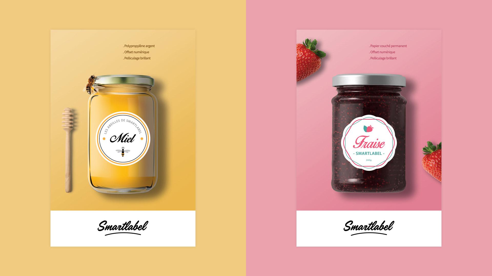 Création étiquettes miel confiture kit échantillon