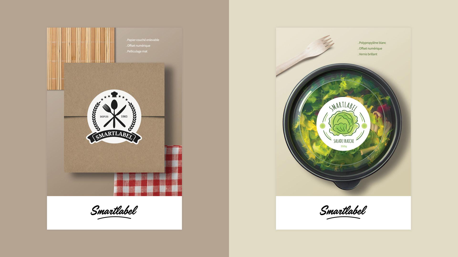 Création étiquettes adhésives traiteur restaurant snack