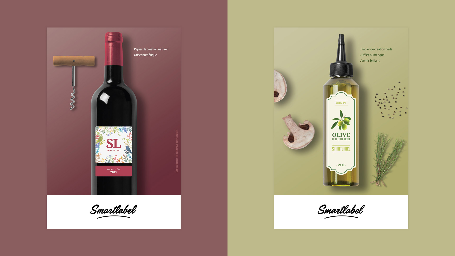 Création étiquettes viticoles oléicoles vin huile olive