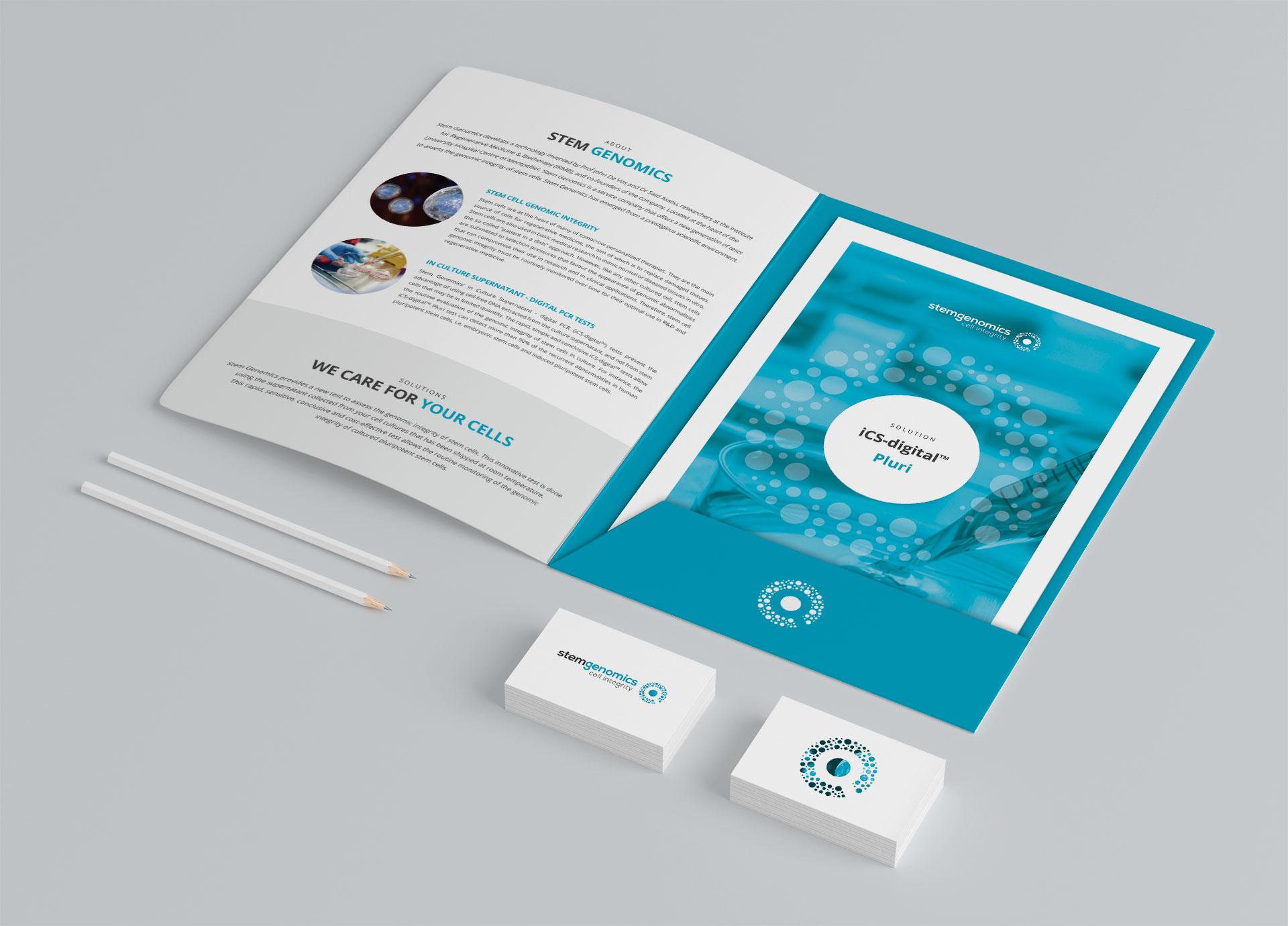 Creation plaquette fiches produits Stem Genomics Montpellier