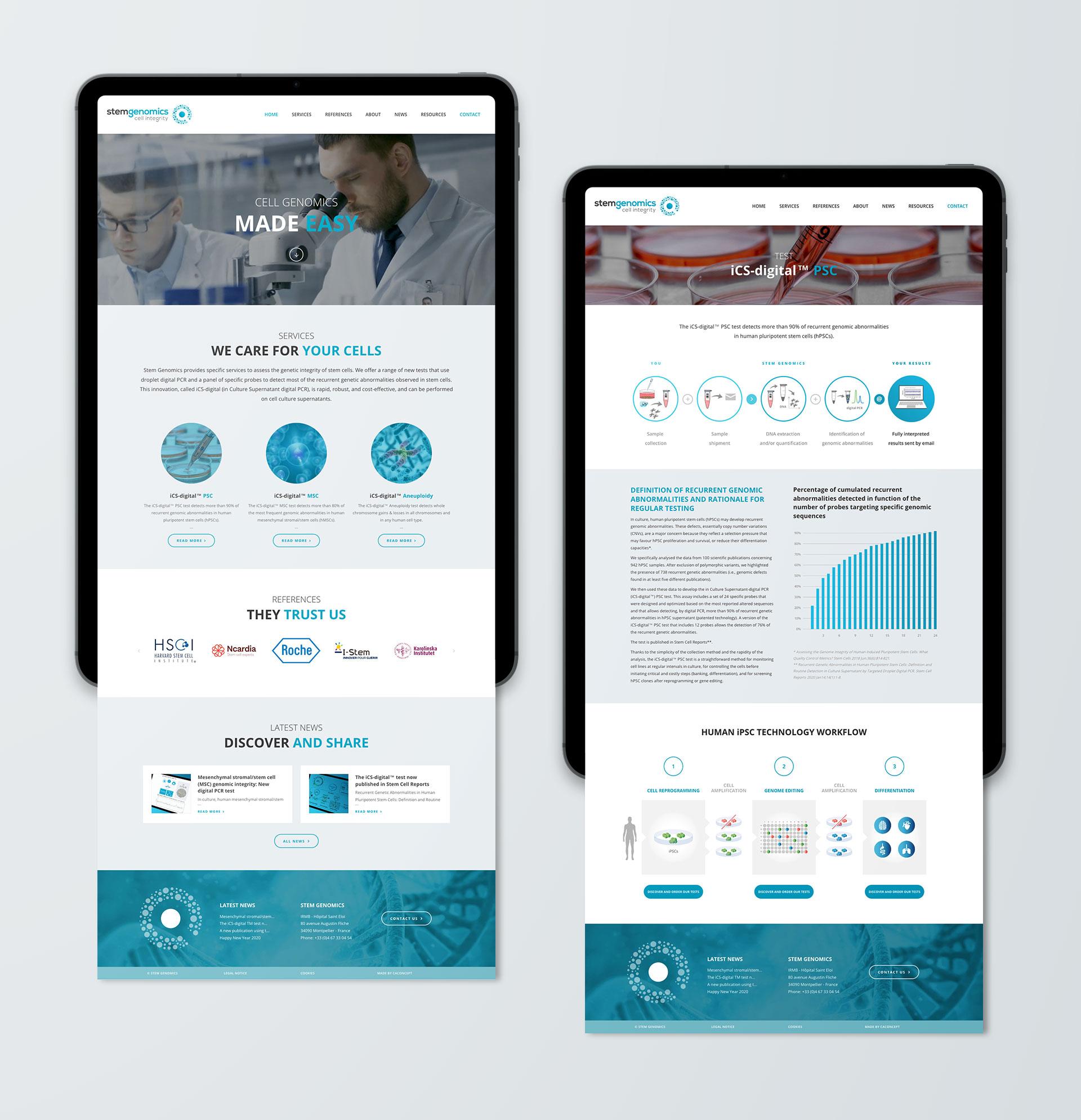 Webdesign site internet Stem Genomics Montpellier