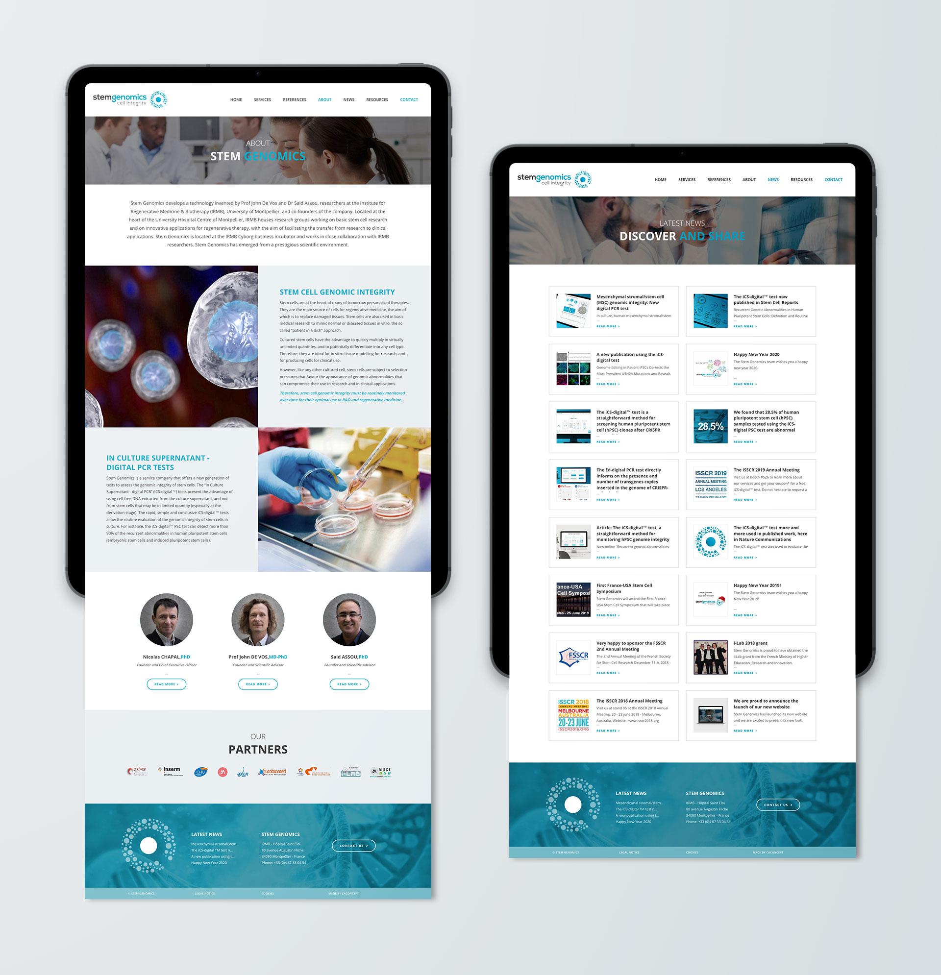 Creation site web Stem Genomics Montpellier