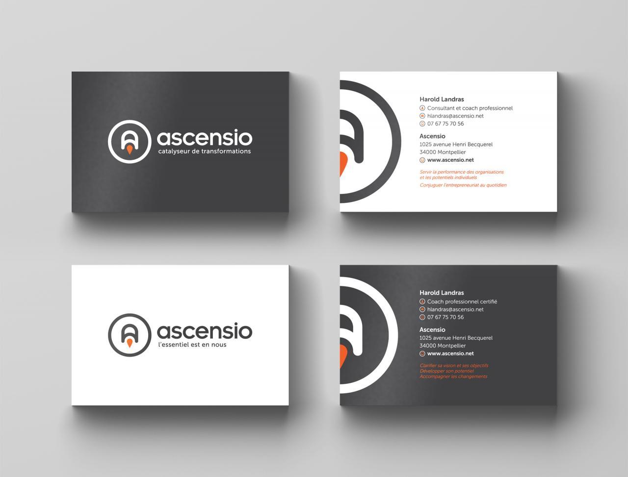 Création cartes de visite Ascensio - Graphiste Montpellier
