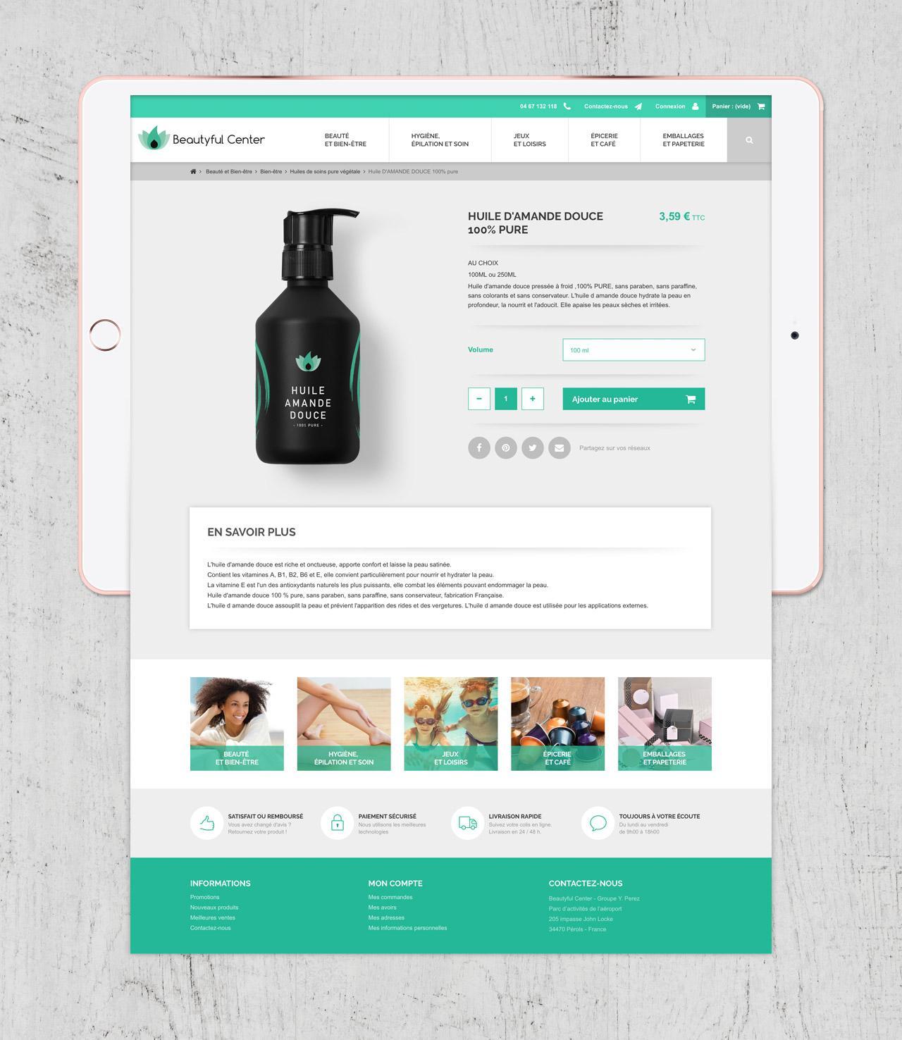 Création site e-commerce page produit