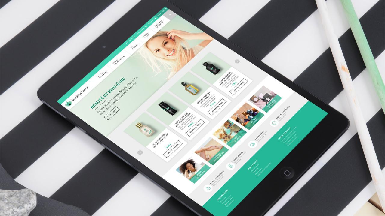 Création site e-commerce responsive soins beauté bien-être