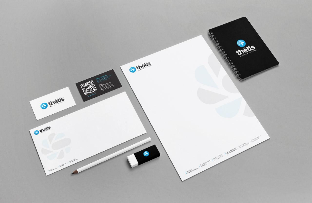 Création de la ligne de papeterie de Thétis : création carte de visite, papier entête, enveloppe - Caconcept graphiste Montpellier