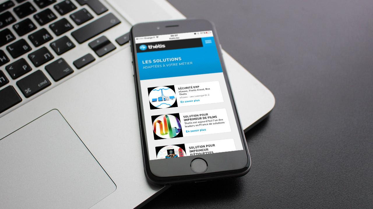 Création site web mobile de Thétis - Caconcept graphiste Montpellier