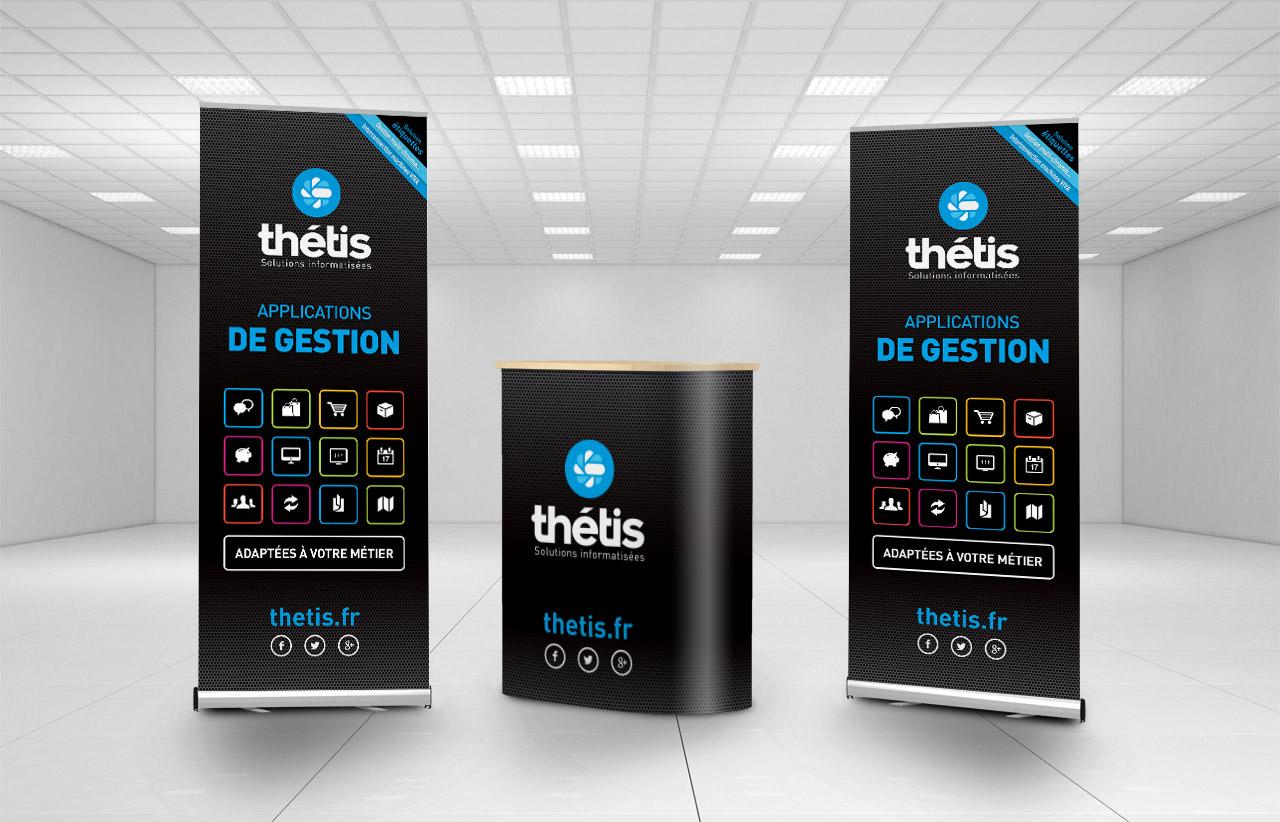 Création du stand de Thétis : création du roll-up, du comptoir - Caconcept graphiste Montpellier