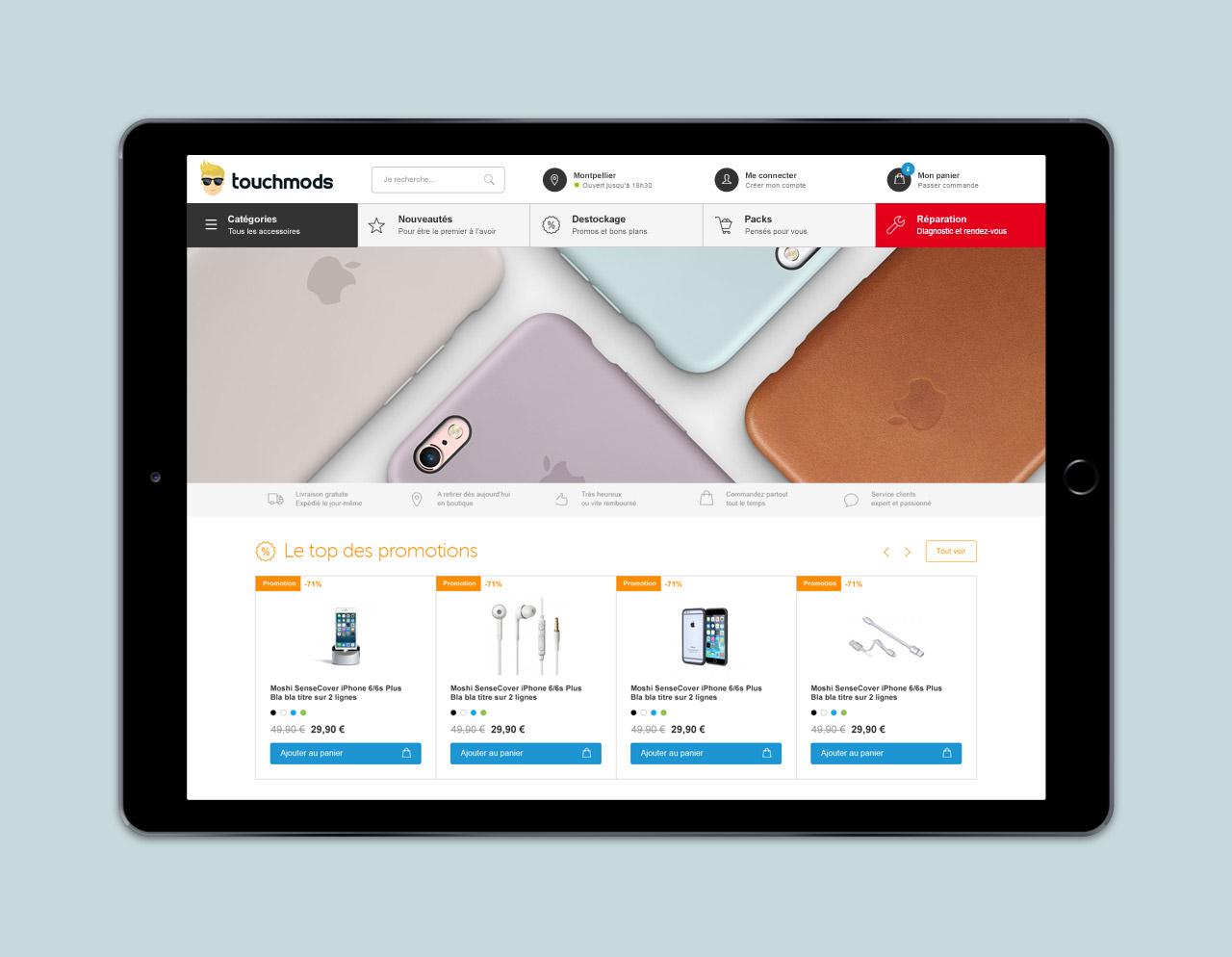Création site e-commerce Touchmods - Caconcept graphiste Montpellier