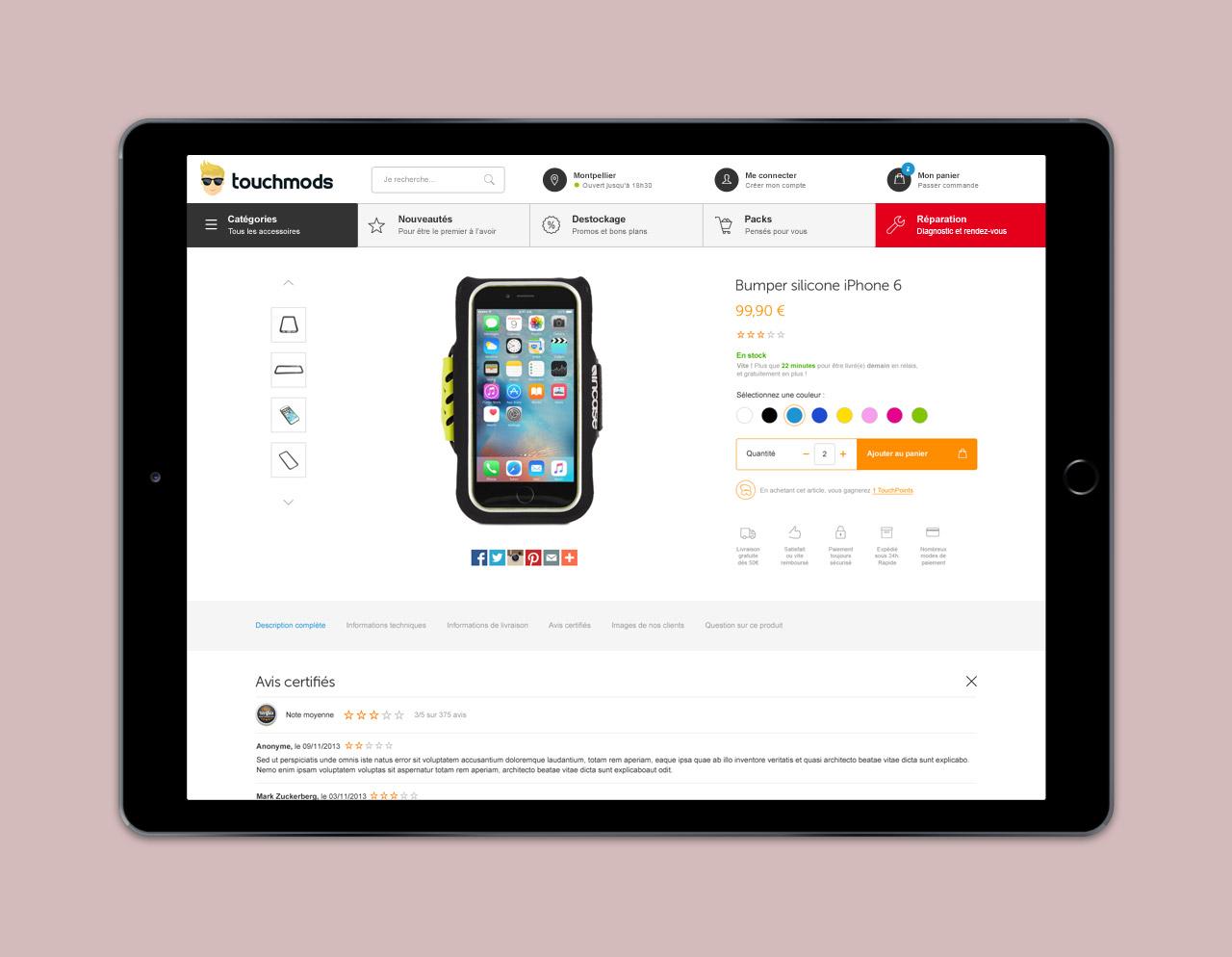 Création page produit site e-commerce - Caconcept graphiste Montpellier