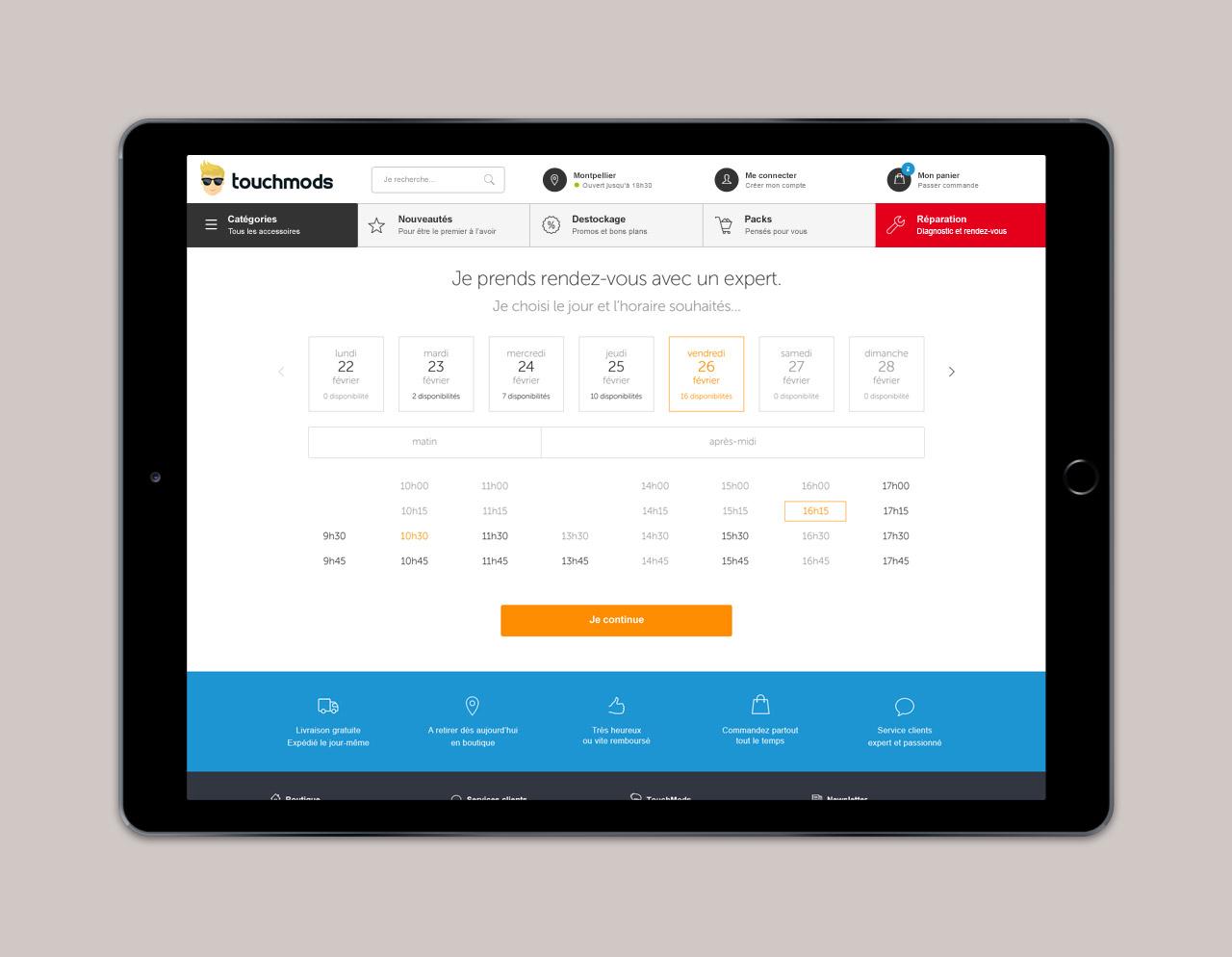 Création page réservation site e-commerce Touchmods - Caconcept graphiste Montpellier