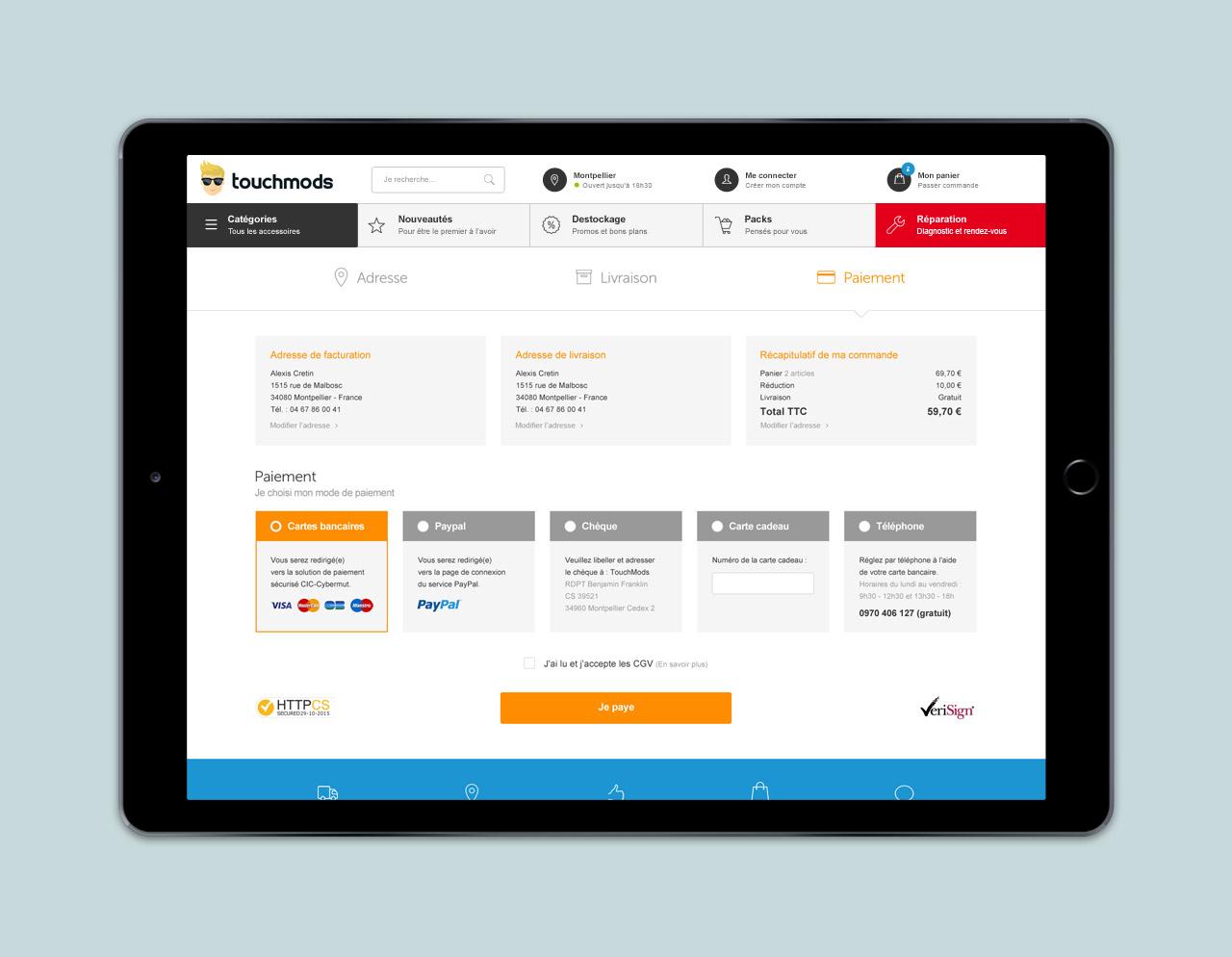 Création page panier site e-commerce - Caconcept graphiste Montpellier