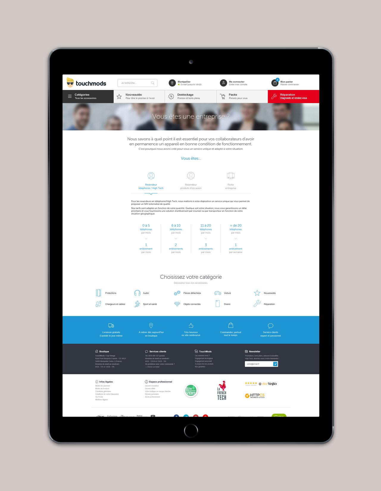 Création page professionnel partenariat site e-commerce - Caconcept graphiste Montpellier