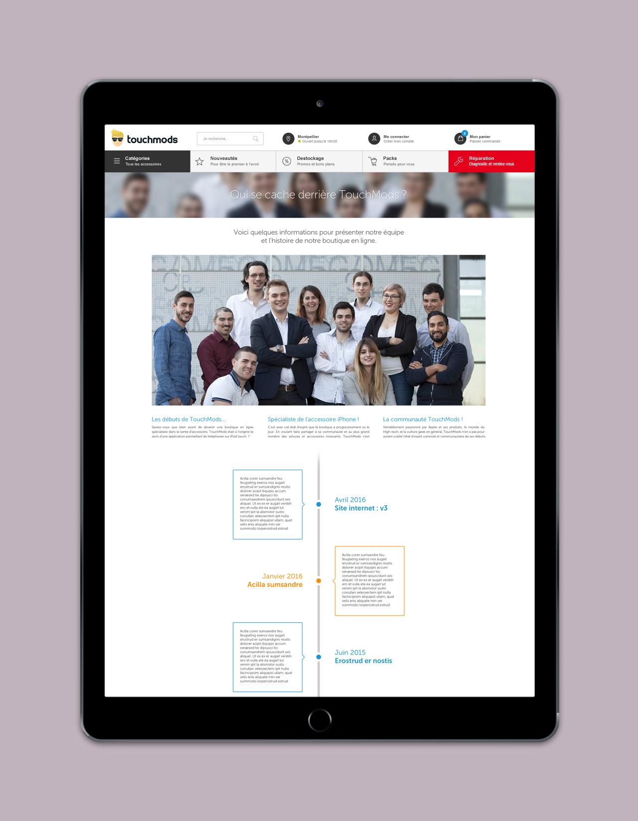 Création page présentation boutique site e-commerce - Caconcept graphiste Montpellier