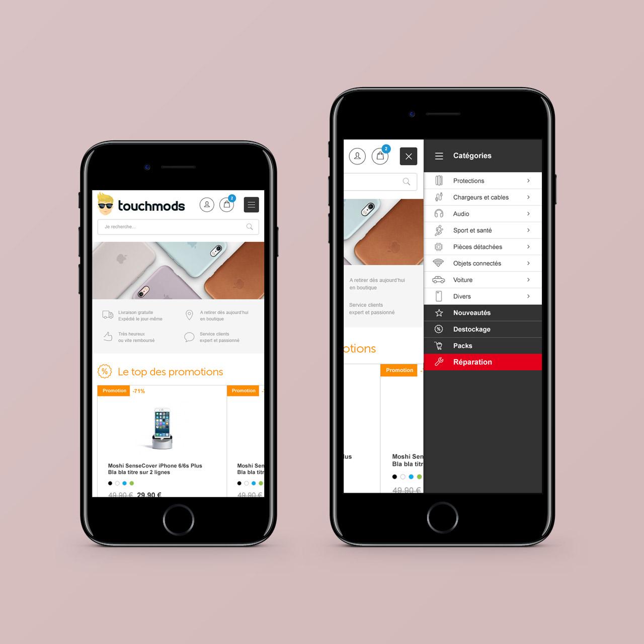 Création boutique mobile site e-commerce Touchmods - Caconcept graphiste Montpellier