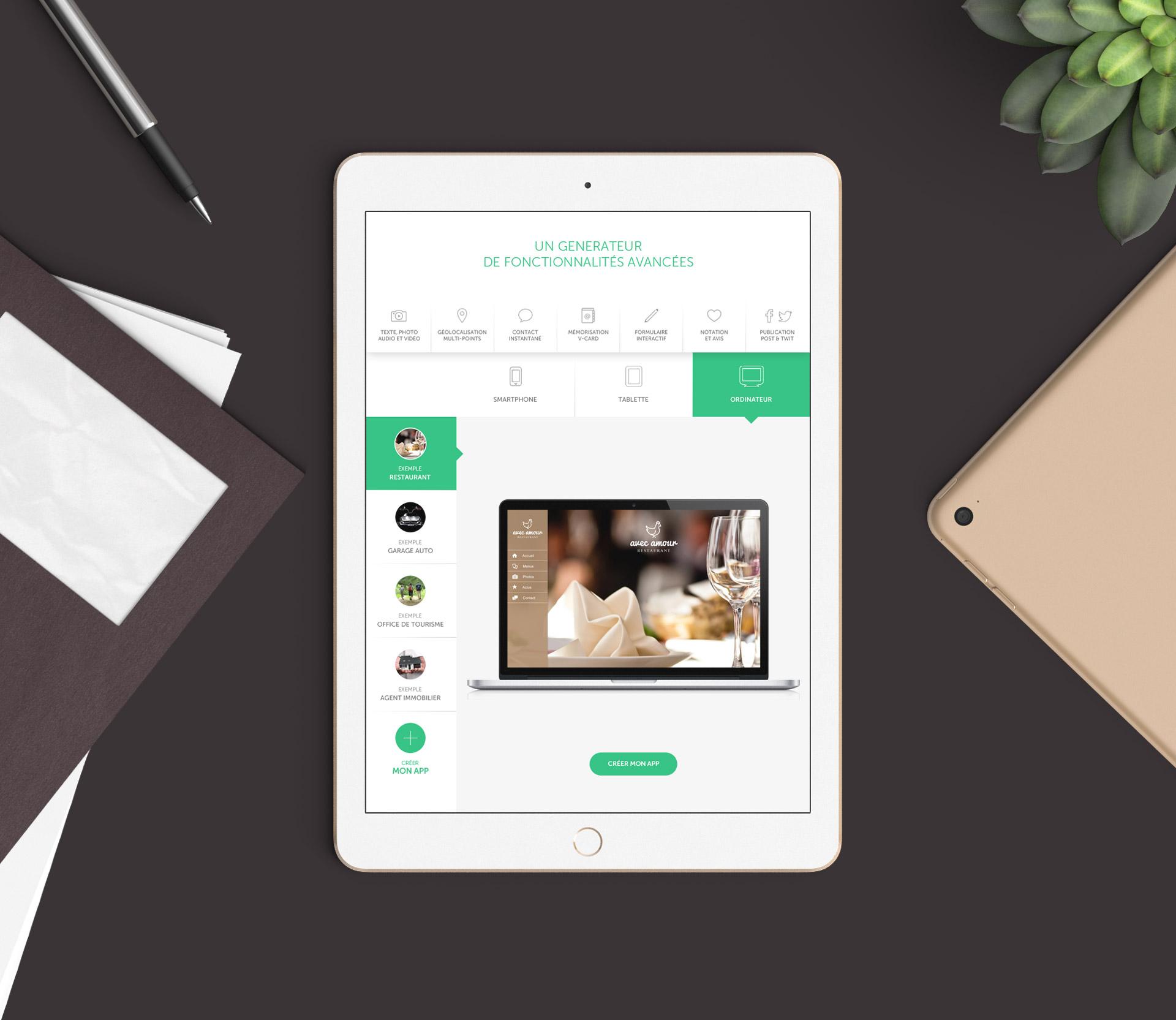 Création du webdesign du module d'aperçu et visualisation de l'application webapp