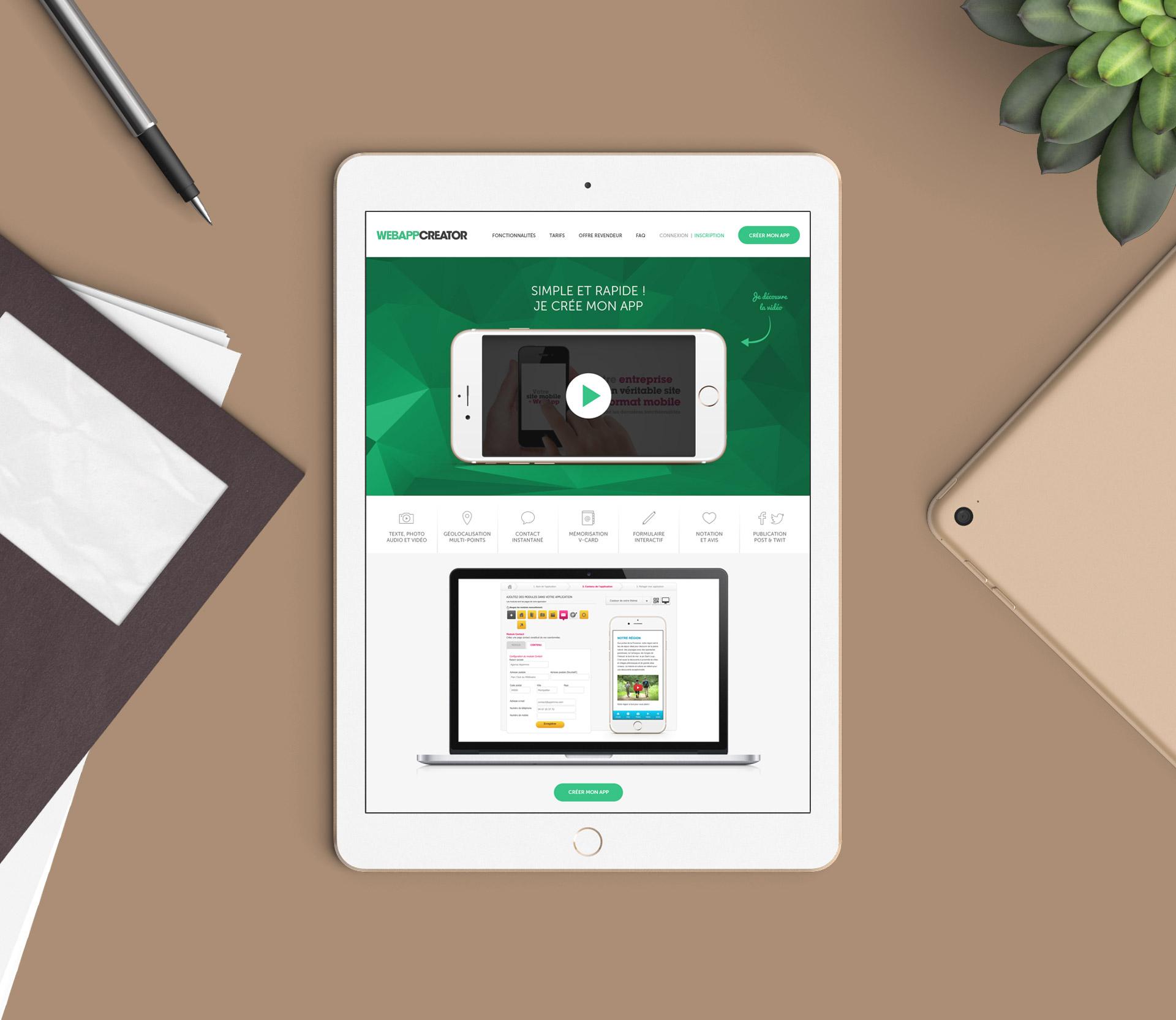 Création du design du module de configuration de l'application ou webapp
